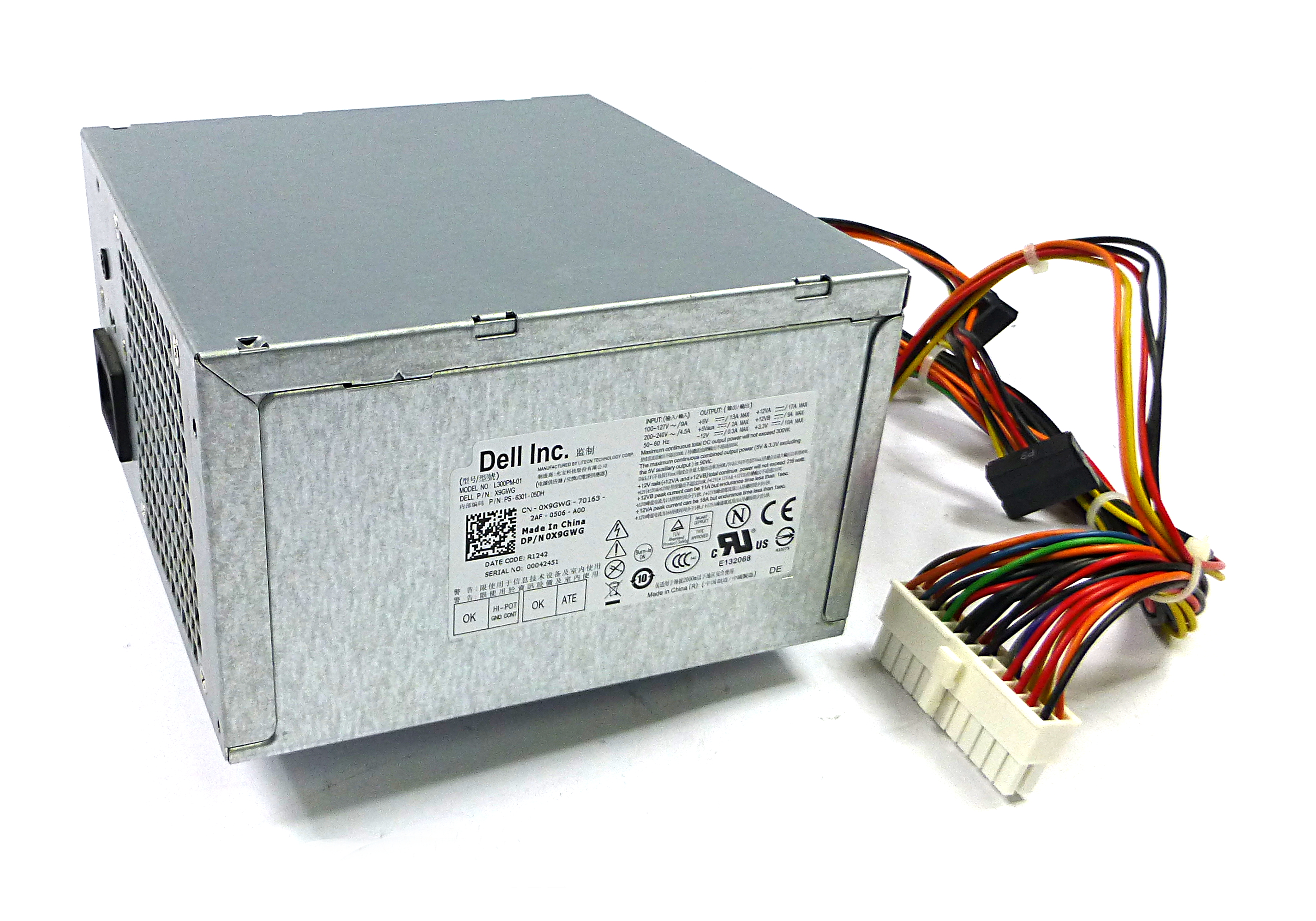 Dell X9GWG Liteon L300PM-01 300W 24 Pin Power Supply
