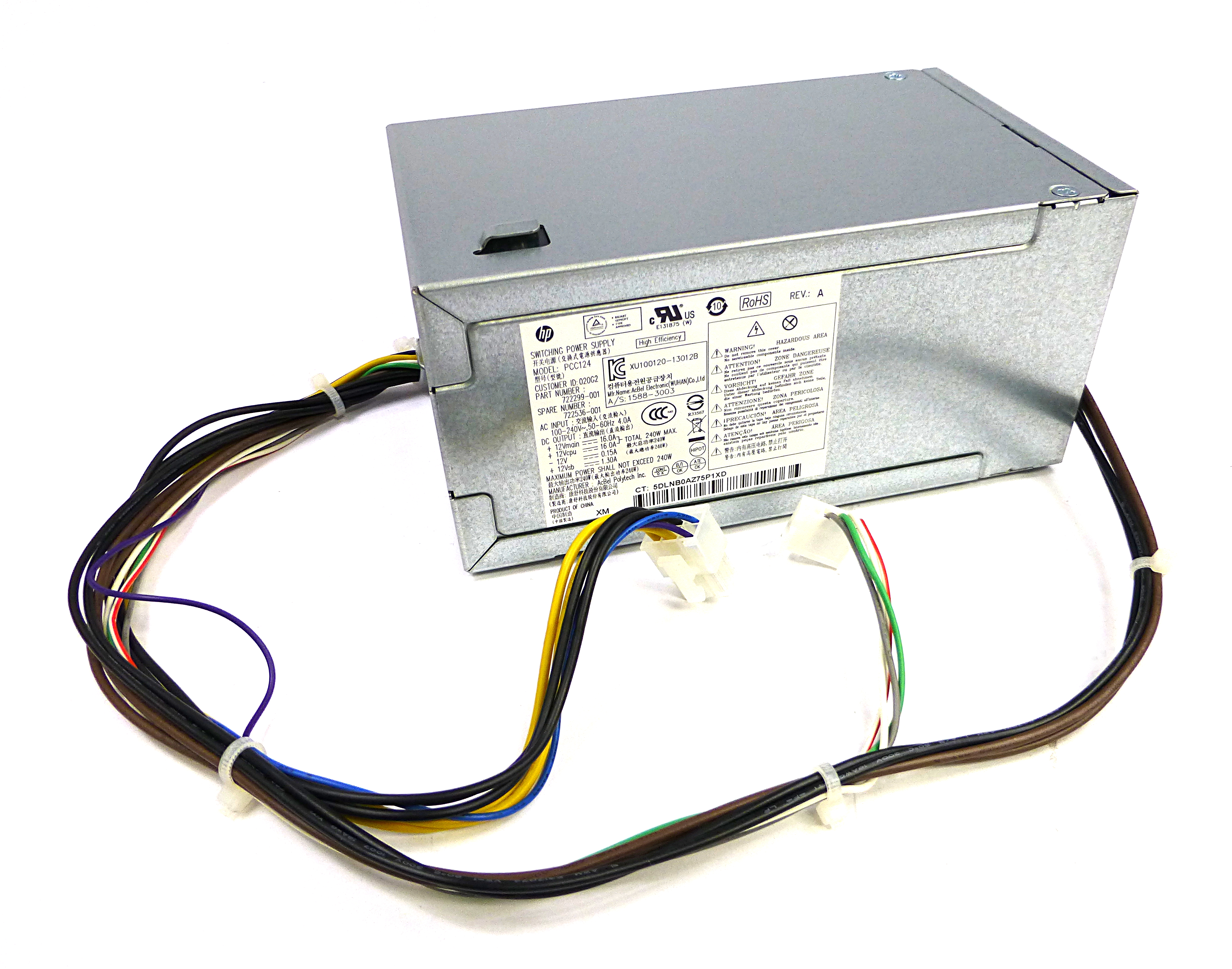 HP 722536-001 AcBel PCC124 240W 6-Pin Power Supply For ProDesk 400 G1 SFF PC