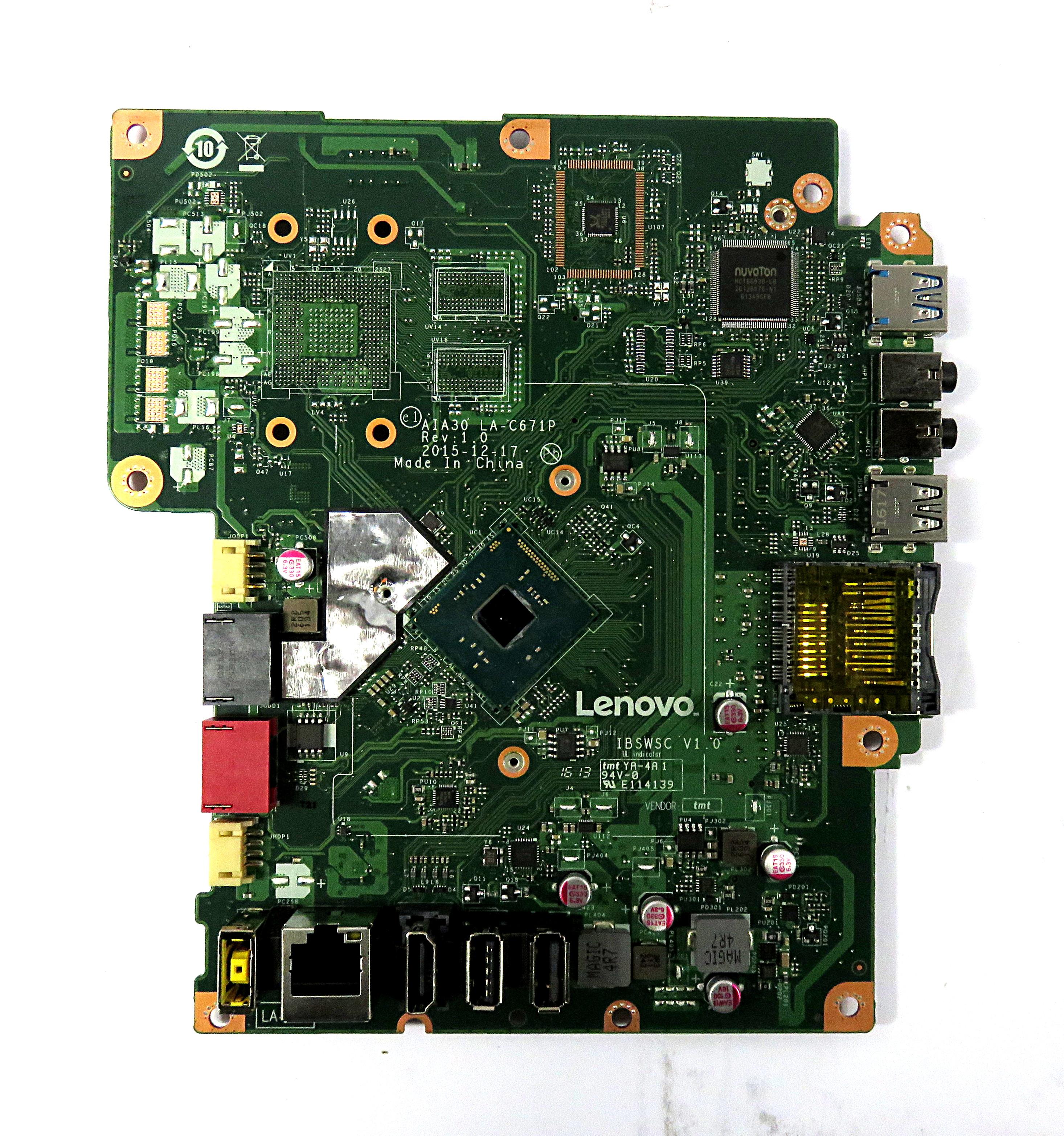 Lenovo UW329 IBSWSC V1.0 Motherboard f/ C20-00 AiO PC Pentium J3710 CPU 00UW329