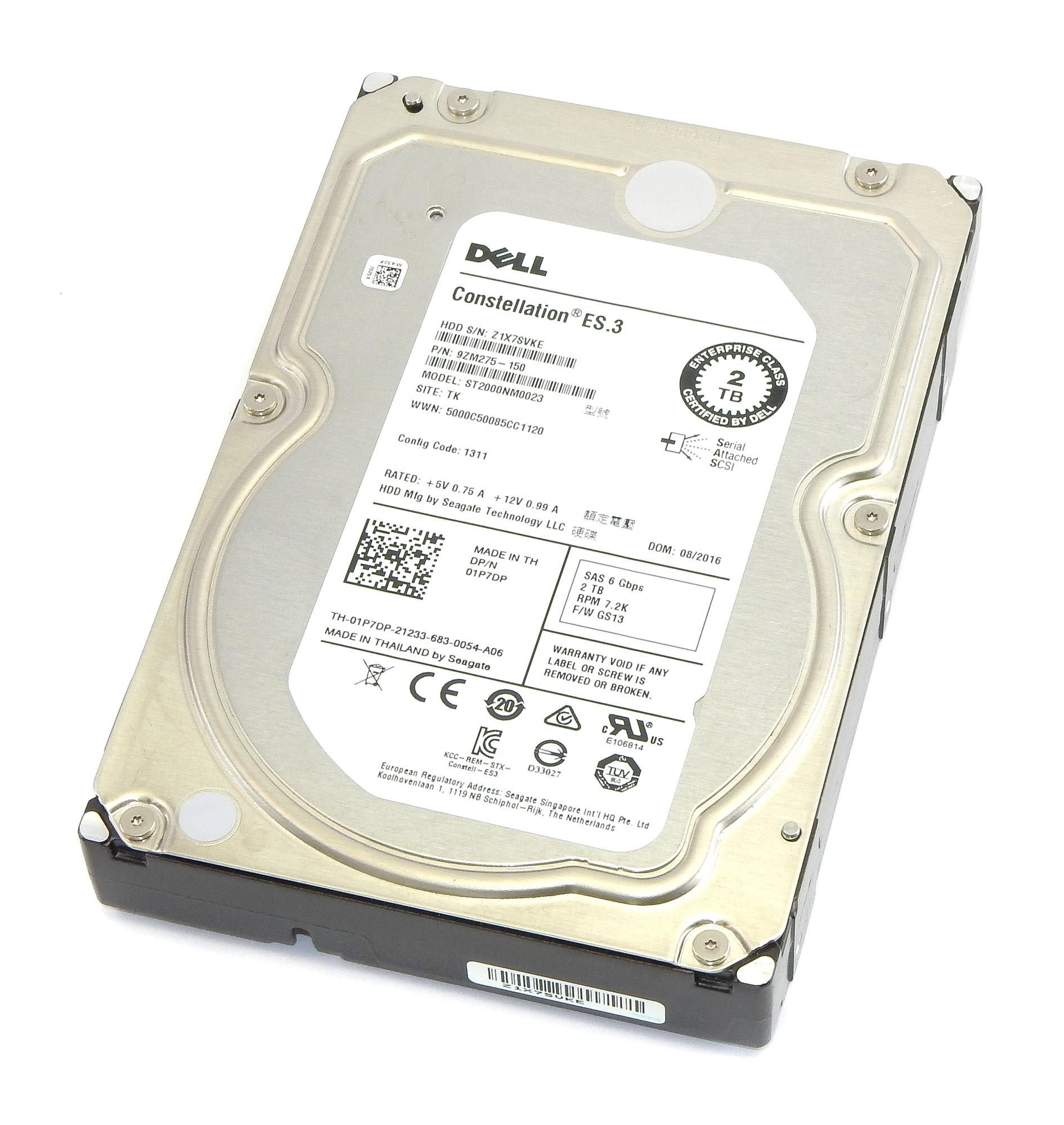 "Dell 1P7DP Constellation ES.3 2TB SAS 3.5"" SAS Hard Drive - Seagate ST2000NM0023"