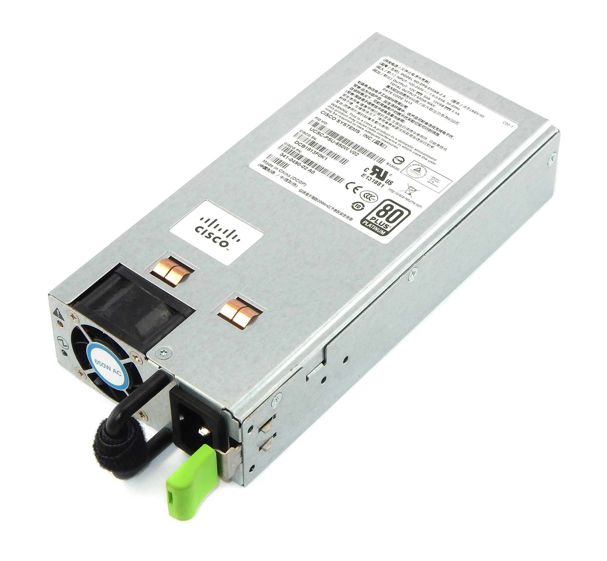 341-0490-02 Cisco 650W PSU Model: DPS-650AB-2 /f UCS C220 M3 Server
