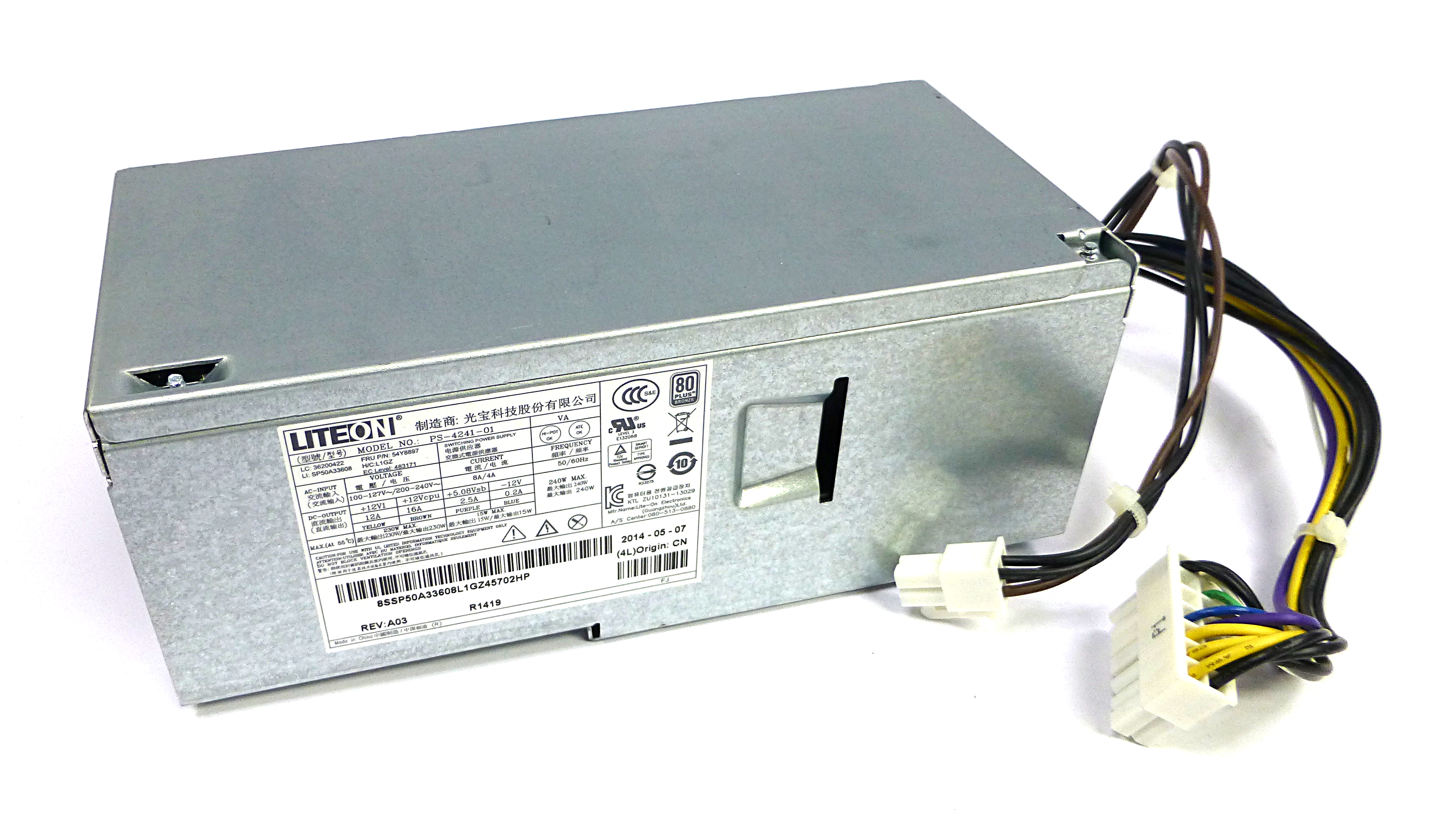 Lenovo 54Y8921 Lite-On PS-4241-01 240W Power Supply For ThinkCentre PC