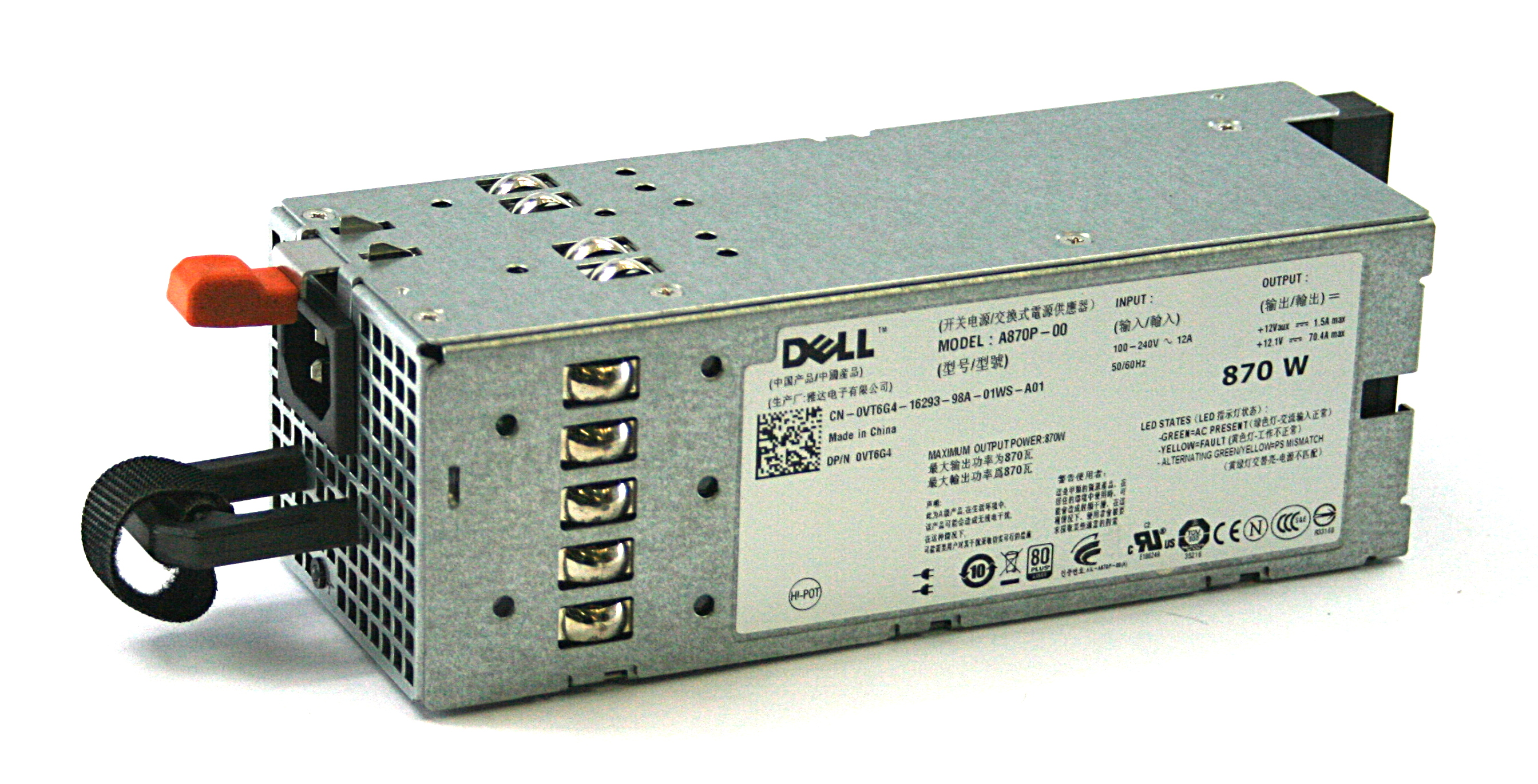 Dell VT6G4 Poweredge R710 870W Server Power Supply A870P-00