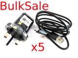 x5 Genuine LG MCS-04UR 5V 1.8A Mains Wall Charger & EAD62588801 USB Cable -Black