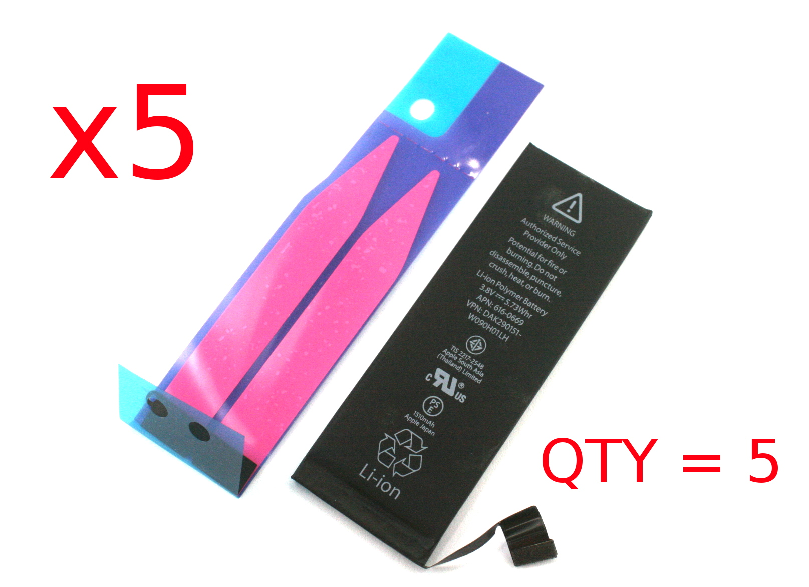 x5 616-0669 Genuine Apple iPhone 5C Battery Kit /w Adhesive 661-8300 652-1163