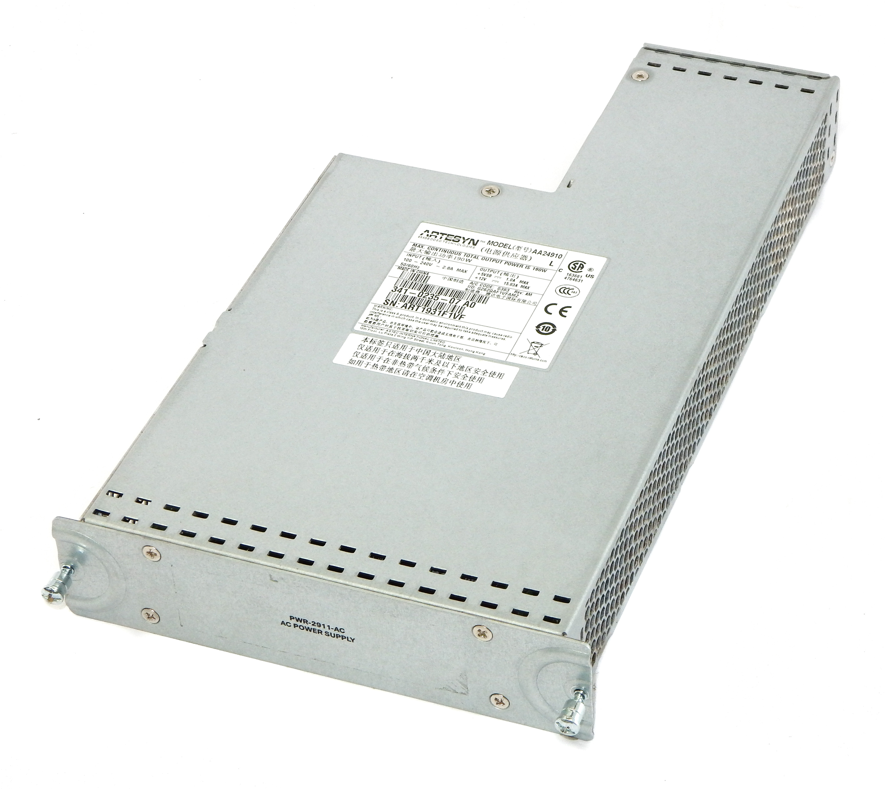 Cisco PWR-2911-AC 190W Power Supply For 2911(CISCO2911/K9) Router