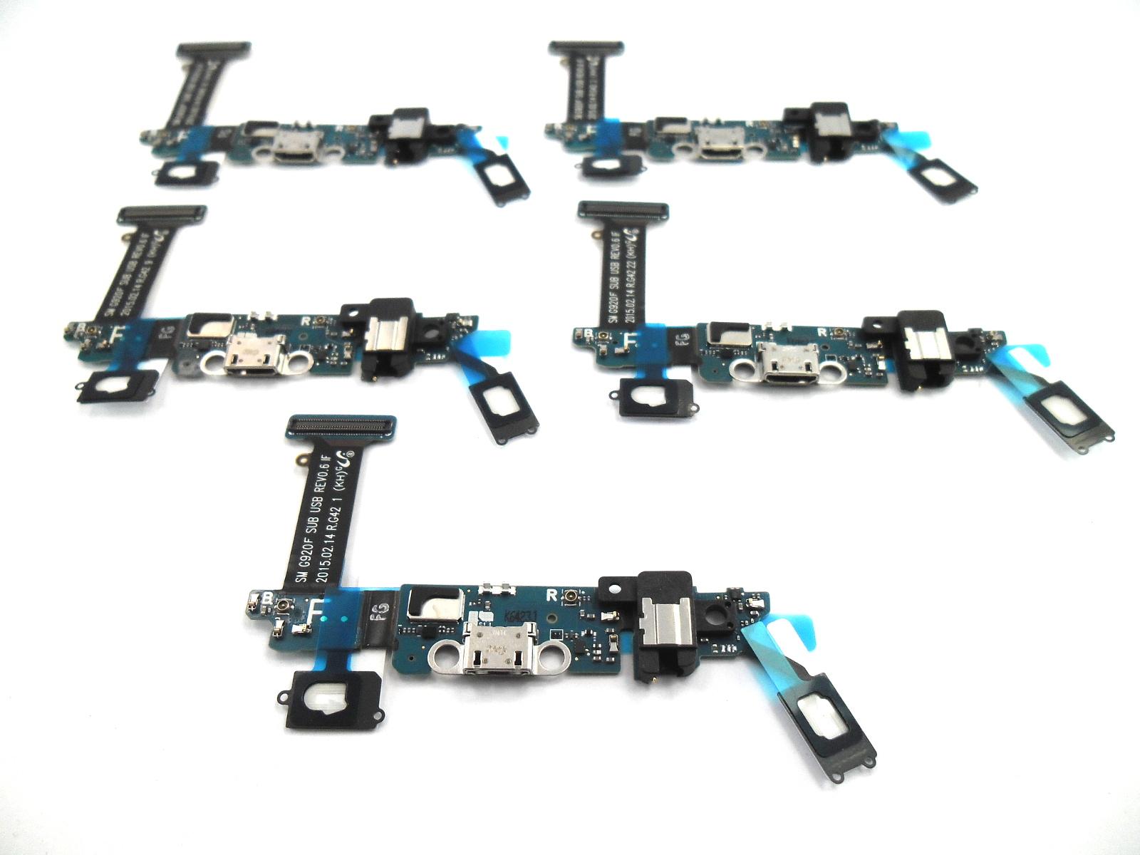 x5 Samsung Galaxy S6 (SM-G920F) Charging connector board gold blue GH96-08275B