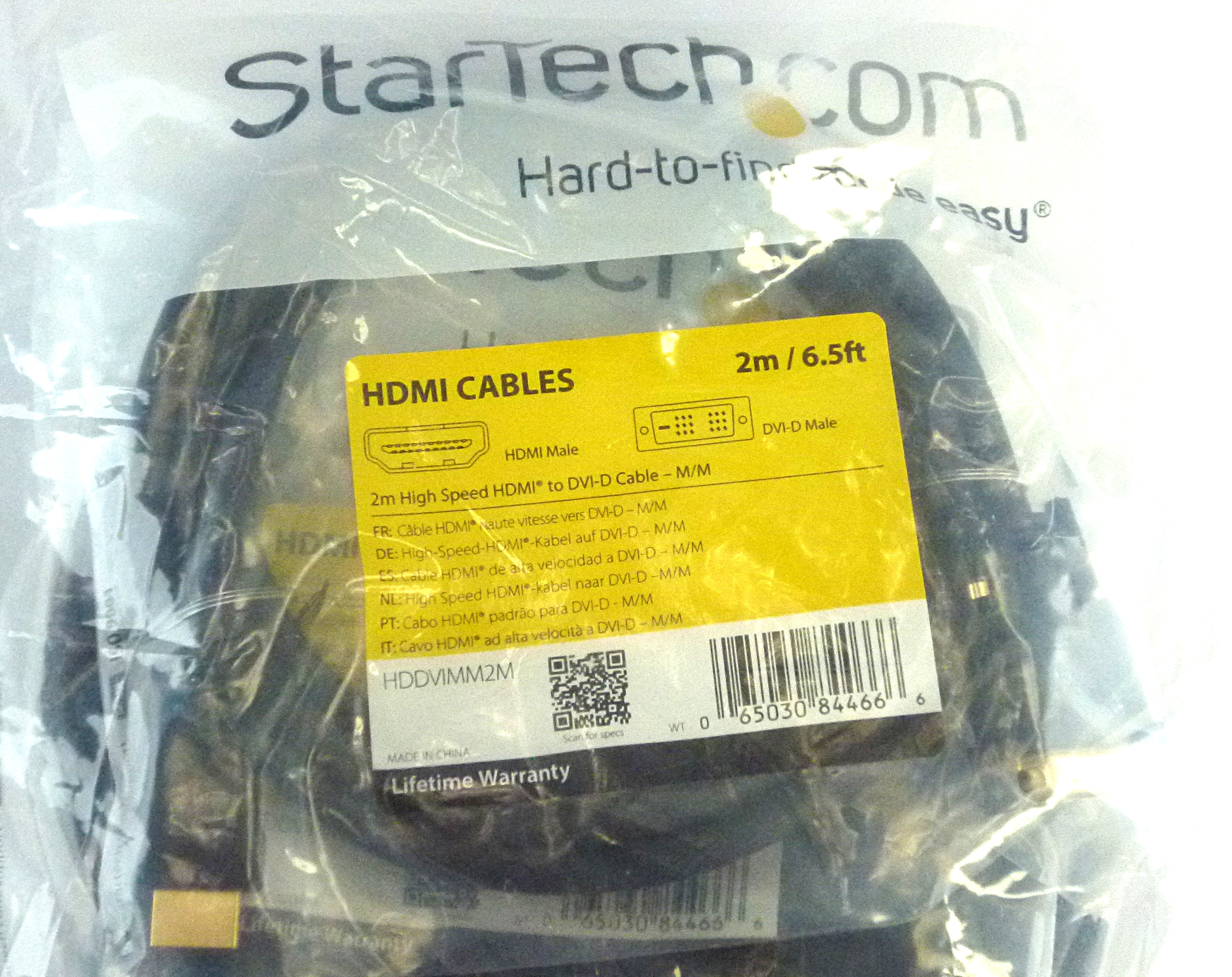 Pack Of 10x New Startech HDDVIMM2M 2m High Speed HDMI To DVI-D Cable