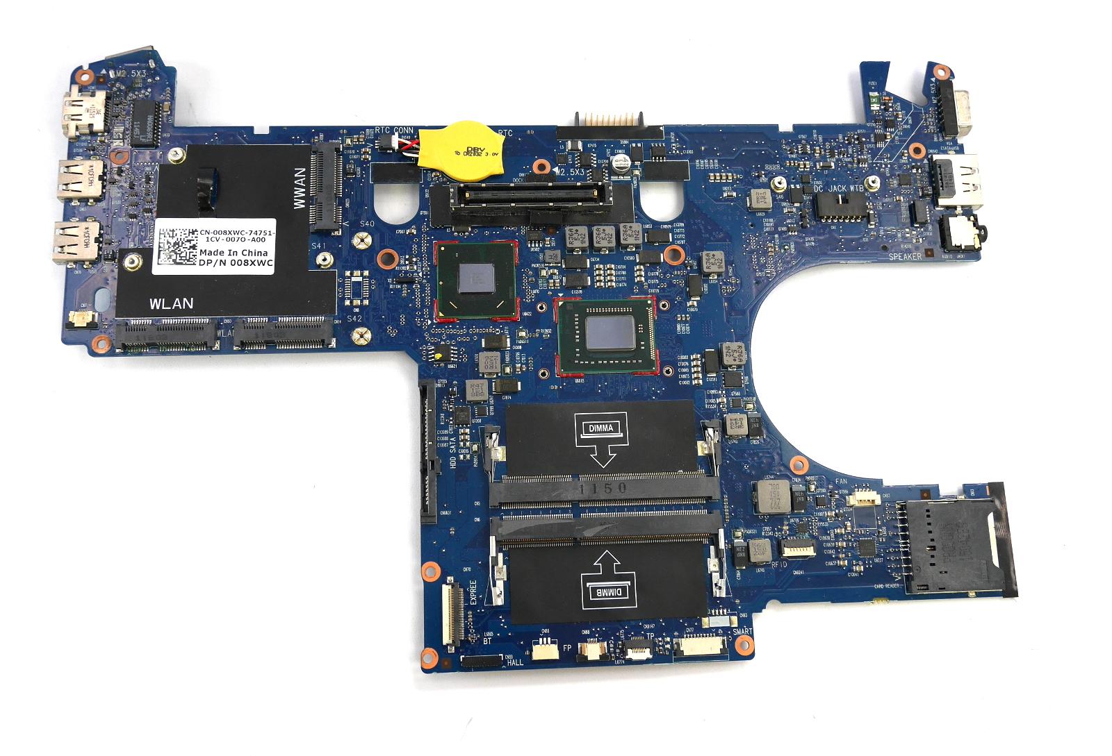 Dell 08XWC Latitude E6220 Motherboard with BGA Intel Core i3-2330M CPU