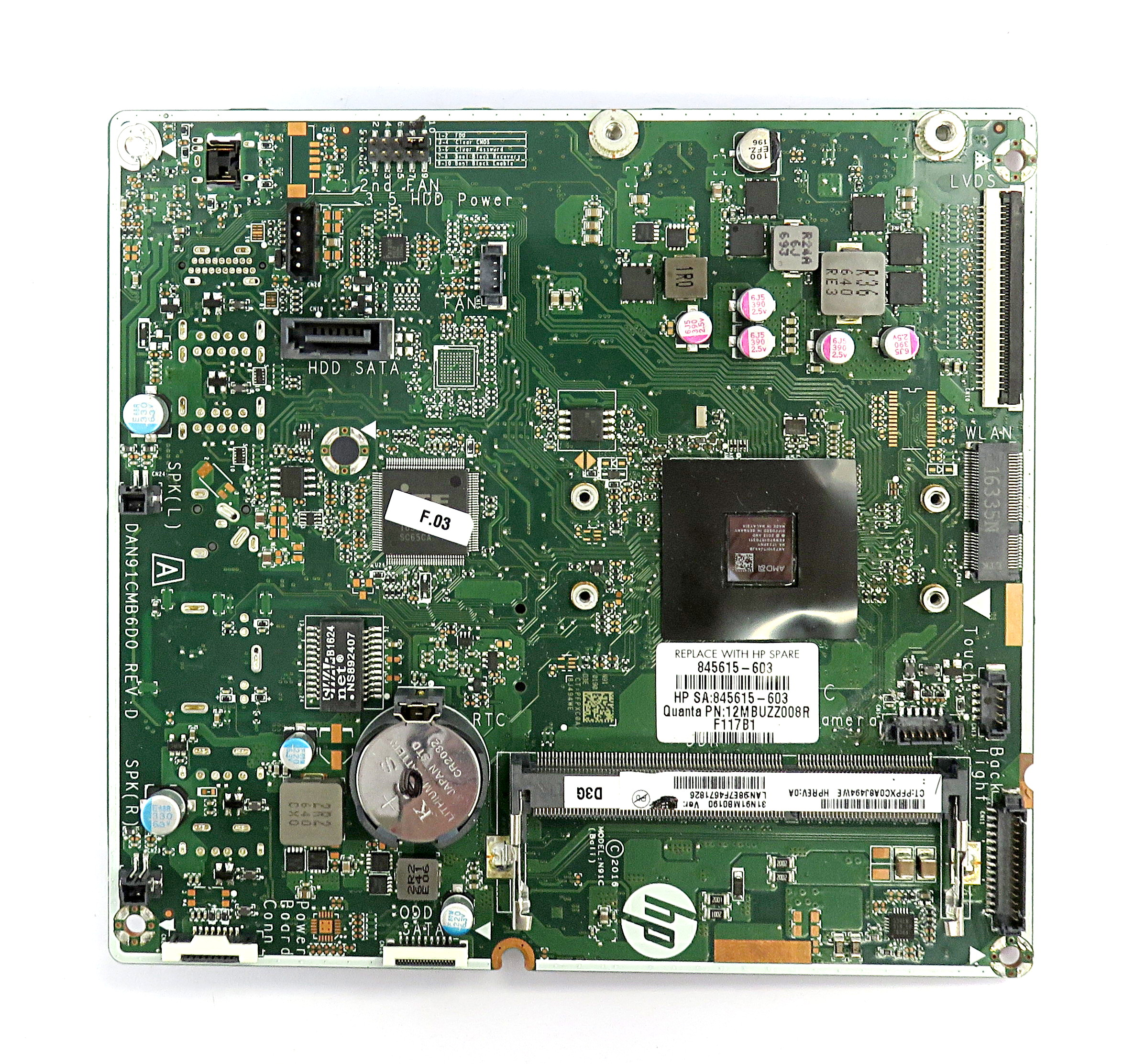 HP 845615-603 N91C (Bali) Motherboard w/ AMD A6-7310 APU f/ 22-b060na AiO PC