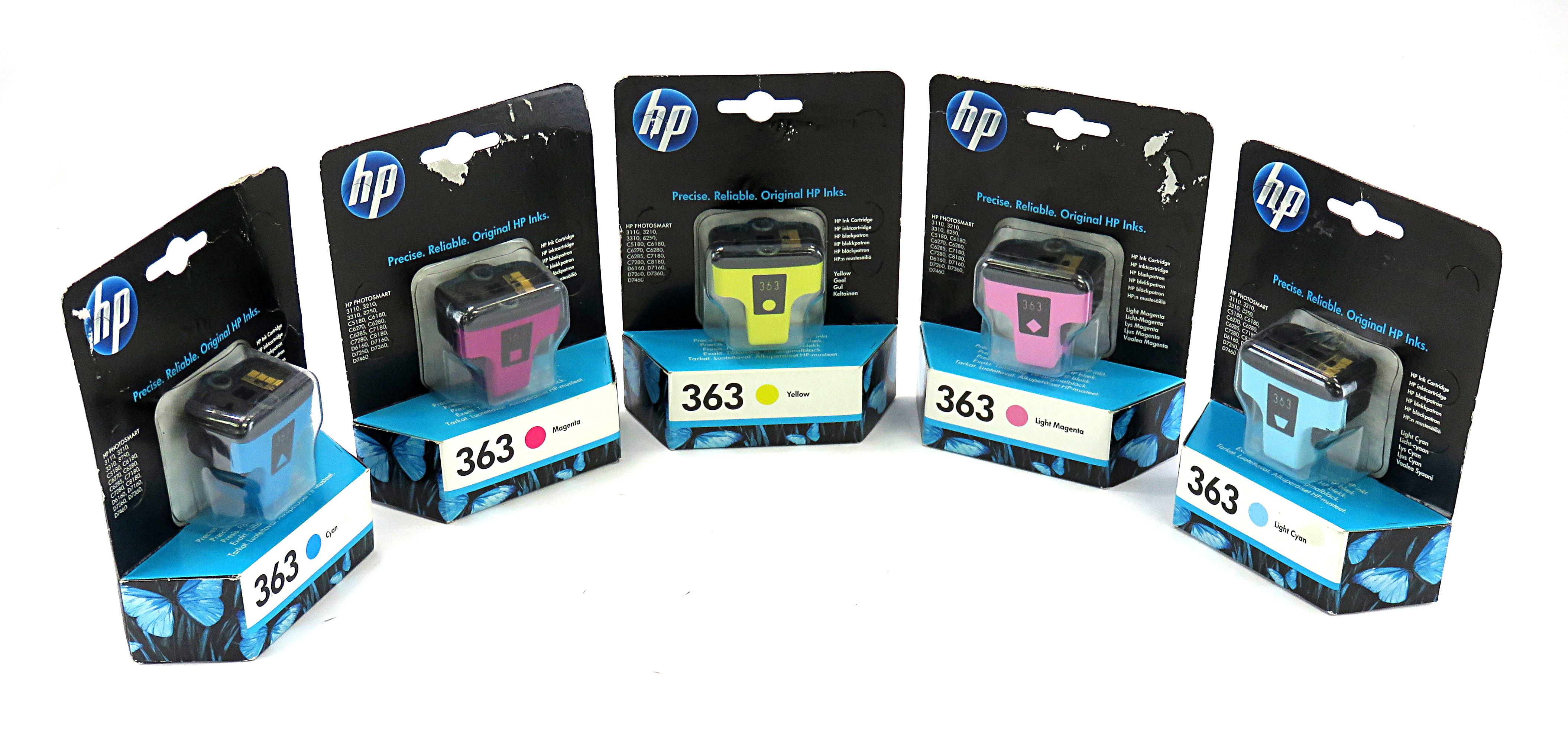 Genuine HP 363 Set of 5 Colour Ink Cartridges f/ Photosmart Series, Expired