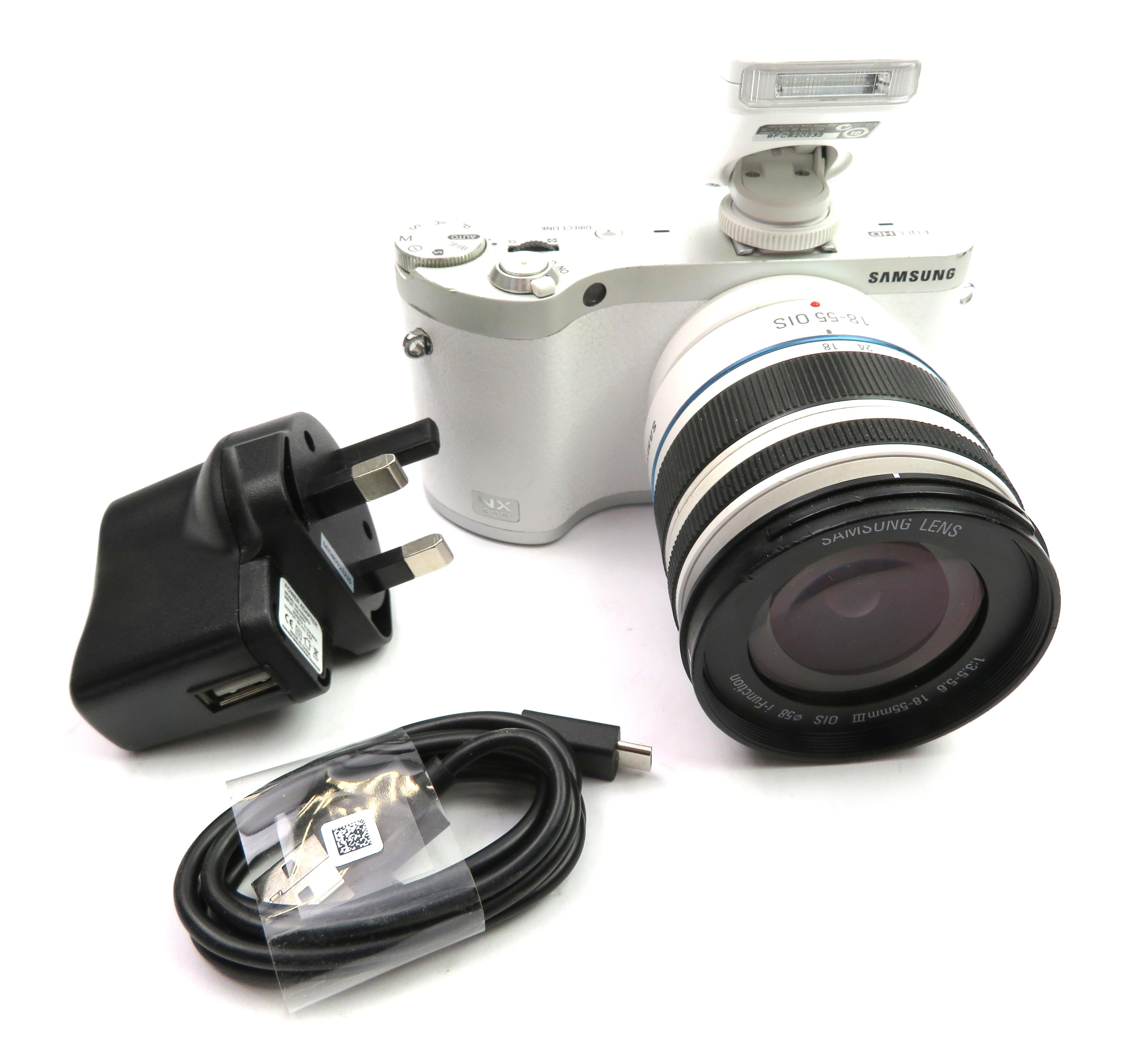 Samsung NX300 20.3MP Digital Camera - White w/18-55mm OIS Lens