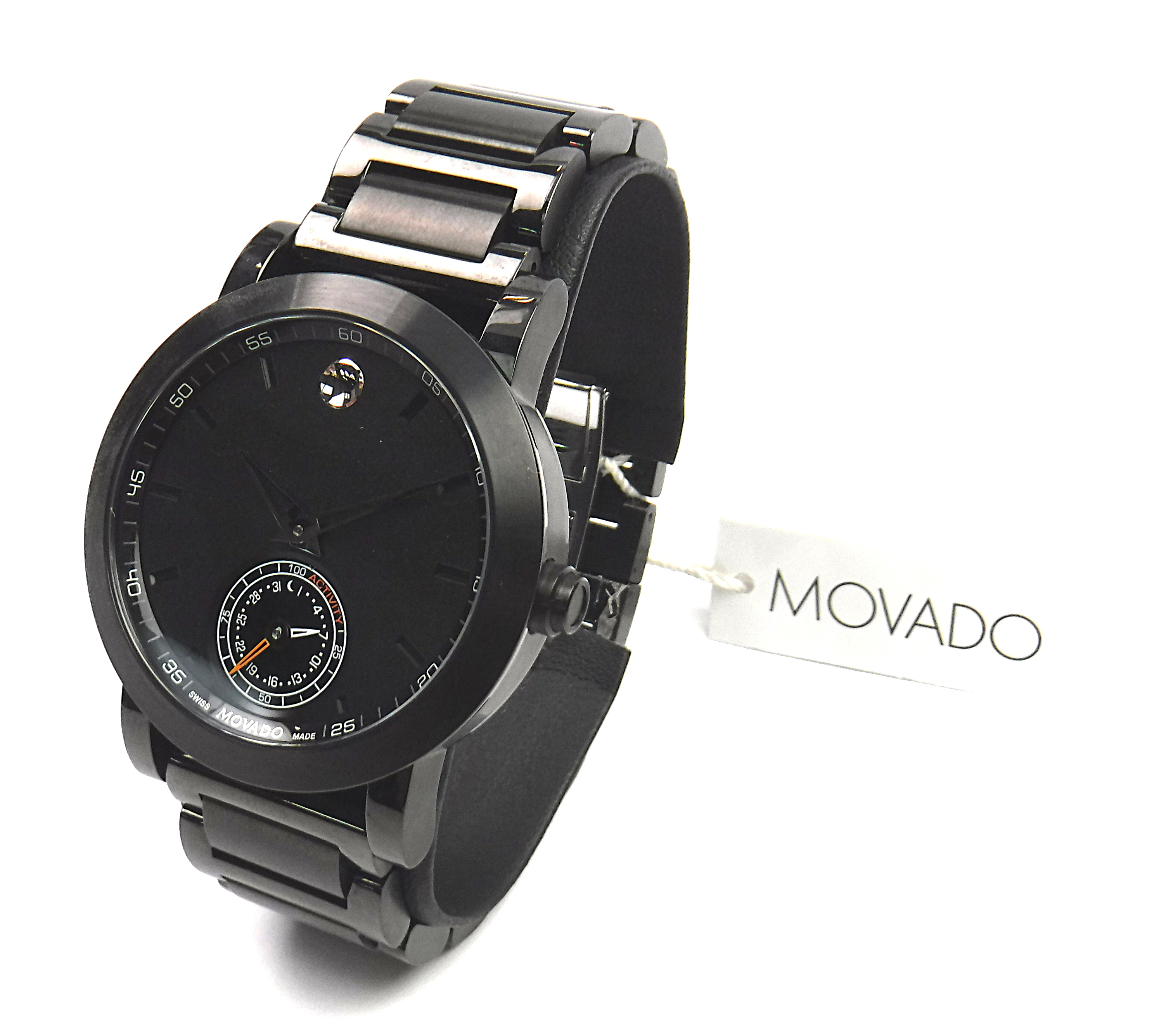 NEW Movado 0660002 Museum Sport Motion Series Mens Black PVD Quartz Watch