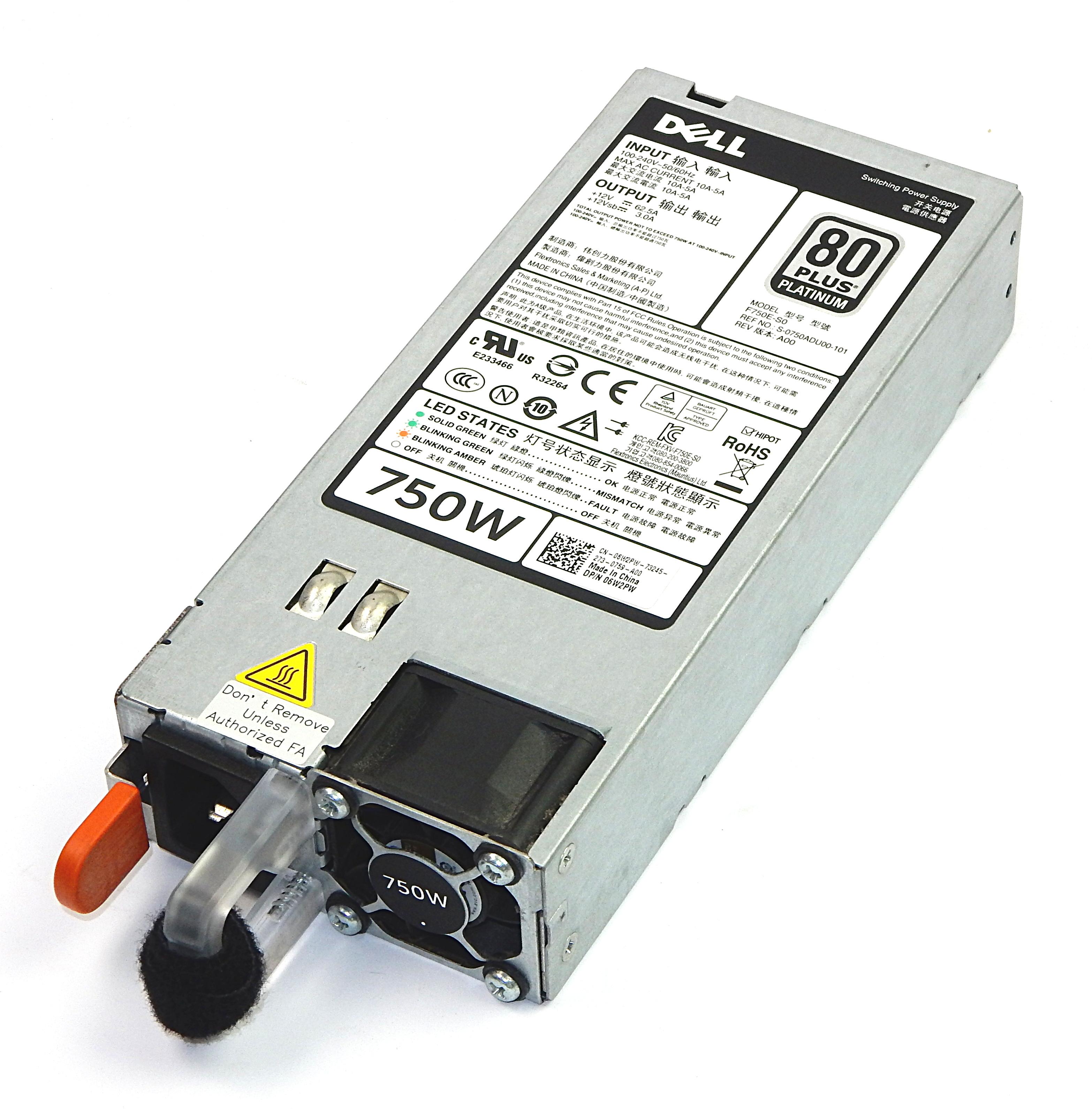 Dell 6W2PW 750W 80+ Platinum Power Supply F750E-S0