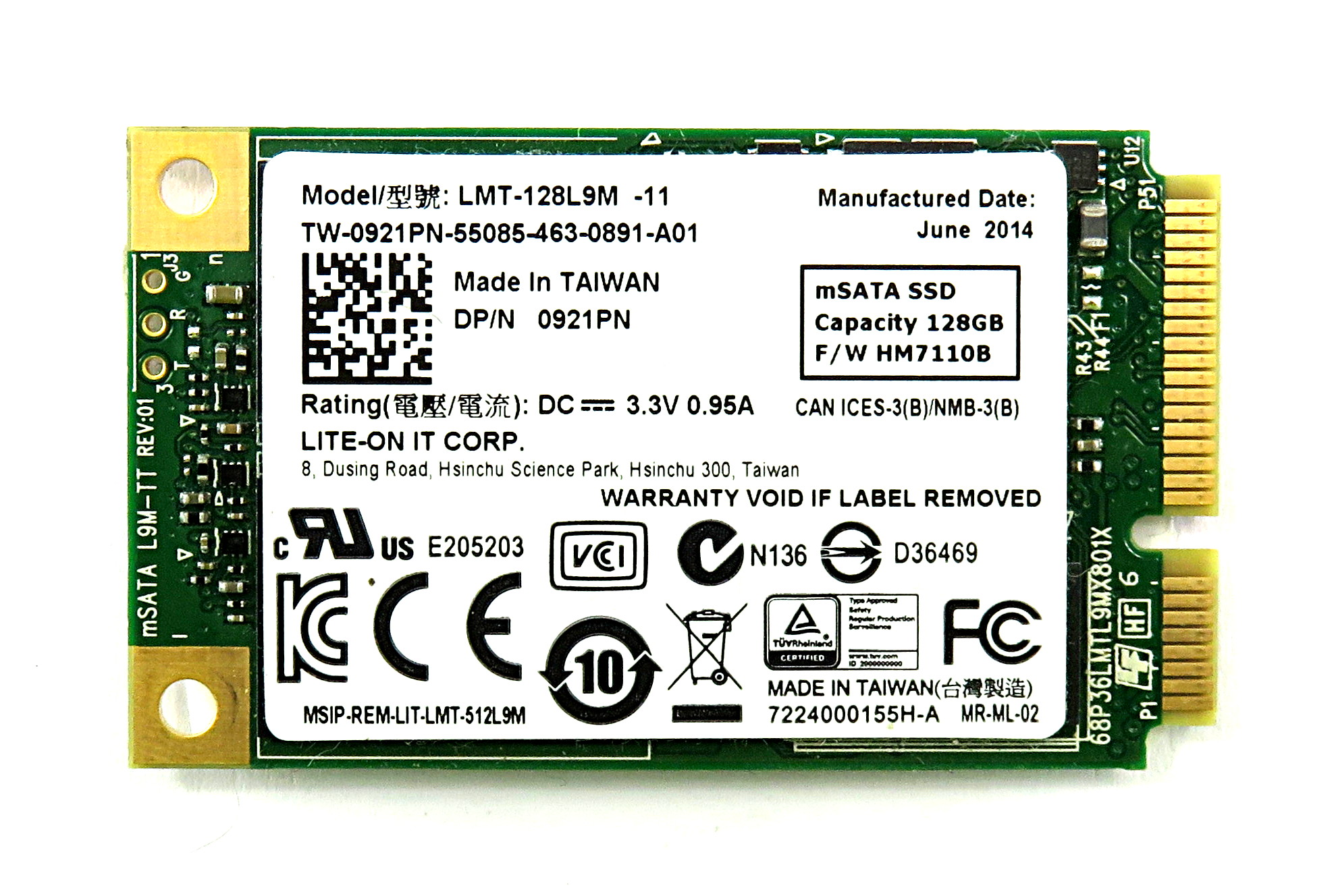 Dell 921PN 128GB mSATA SSD Lite-on LMT-128L9M