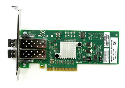 Dell 5GYTY Brocade 825 Dual 8Gb SFC+ FC Full-Height HBA Card w/ 2x 57-1000117-01