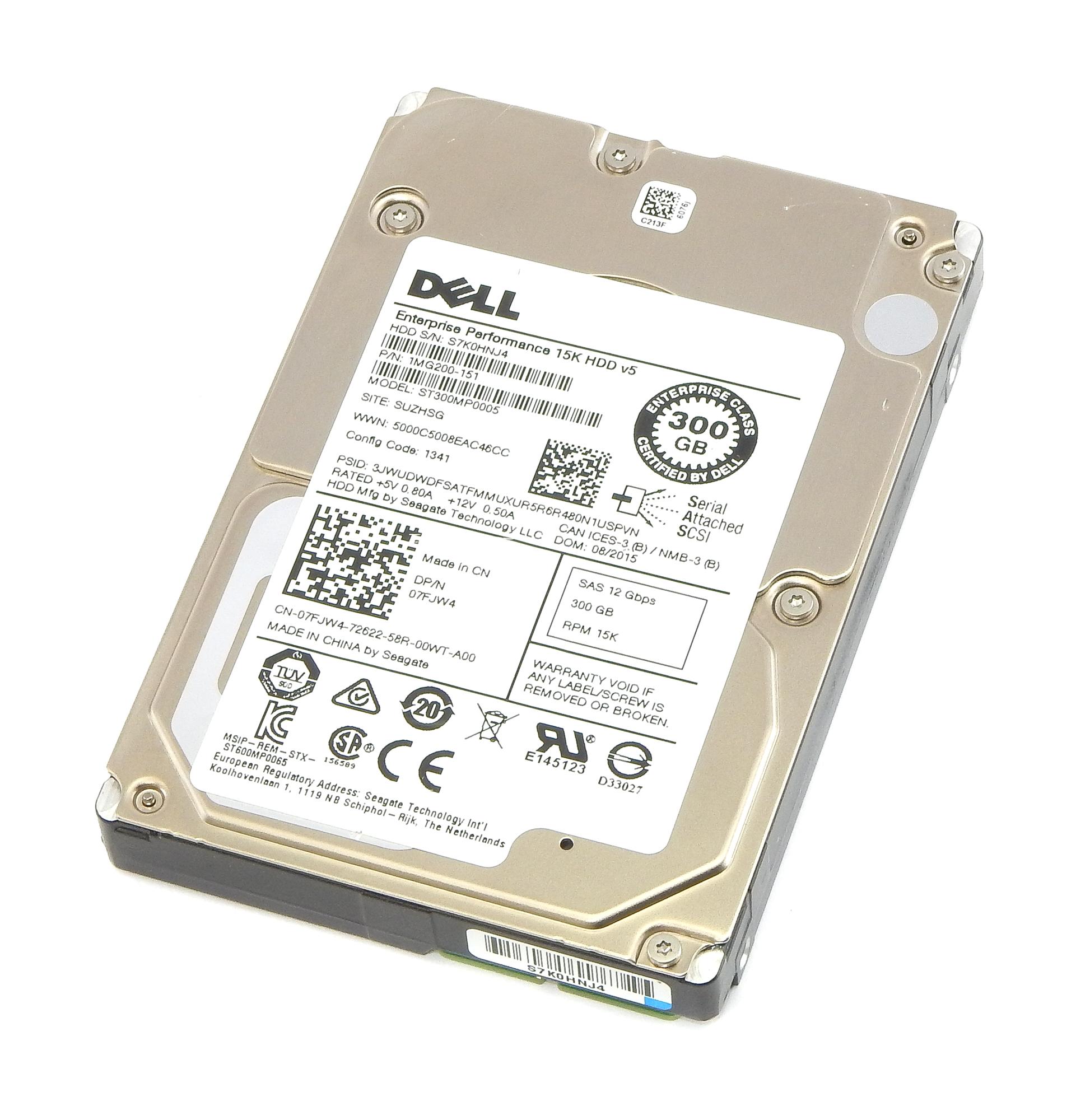 "Dell 7FJW4 300GB 2.5"" 15K RPM SAS 12Gb/s Hard Drive Seagate ST300MP0005"