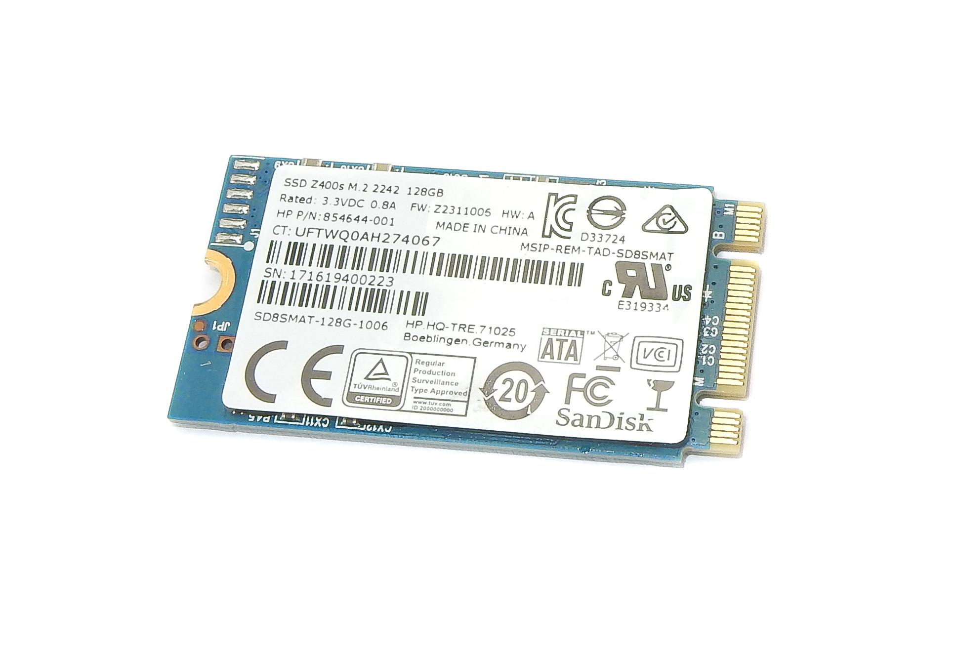 HP 854644-001 SanDisk SD8SMAT-128G-1006 128GB Z400s SATA M.2 2242 SSD