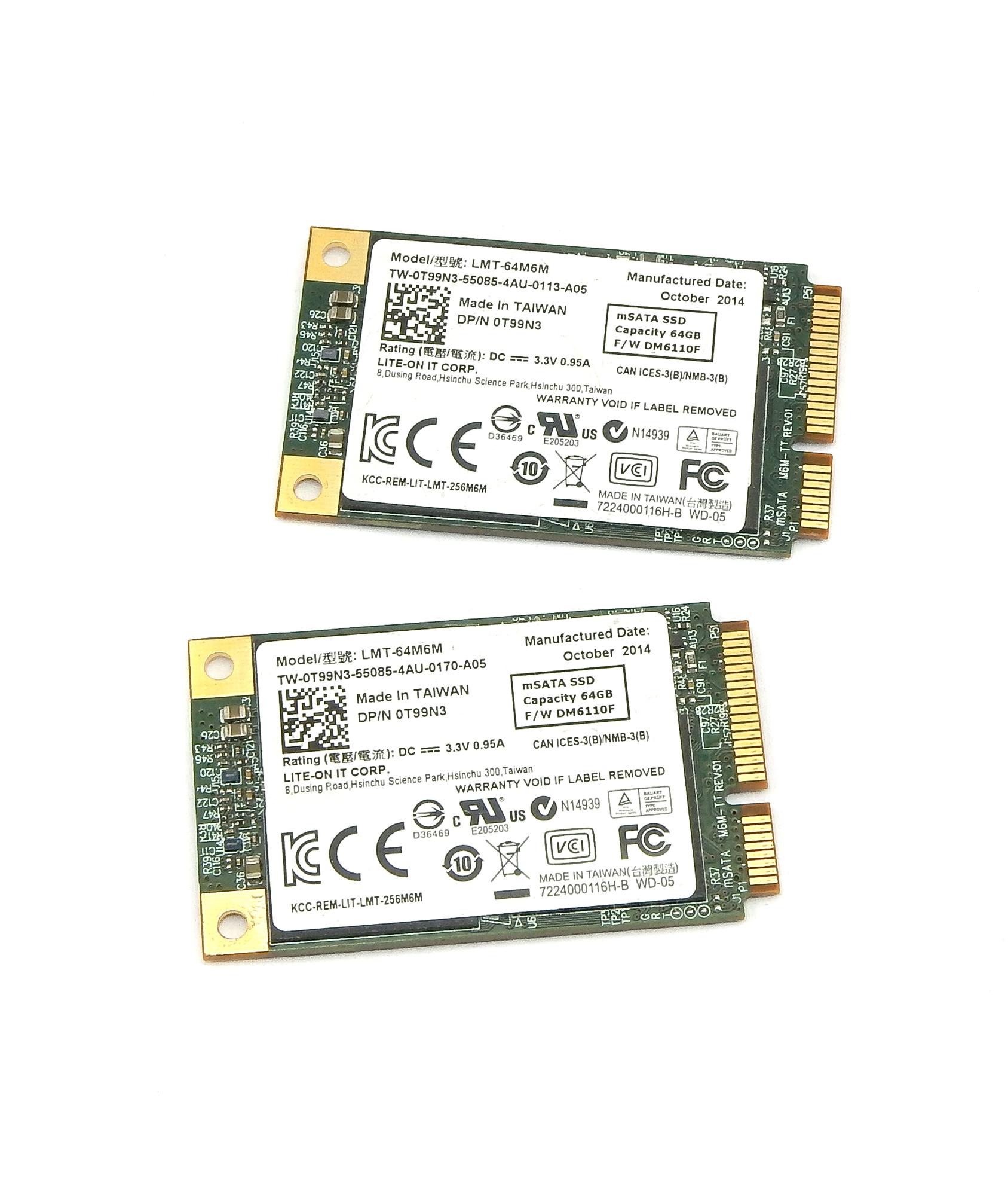2x Dell T99N3 64GB mSATA SSD Lite-on LMT-64M6M