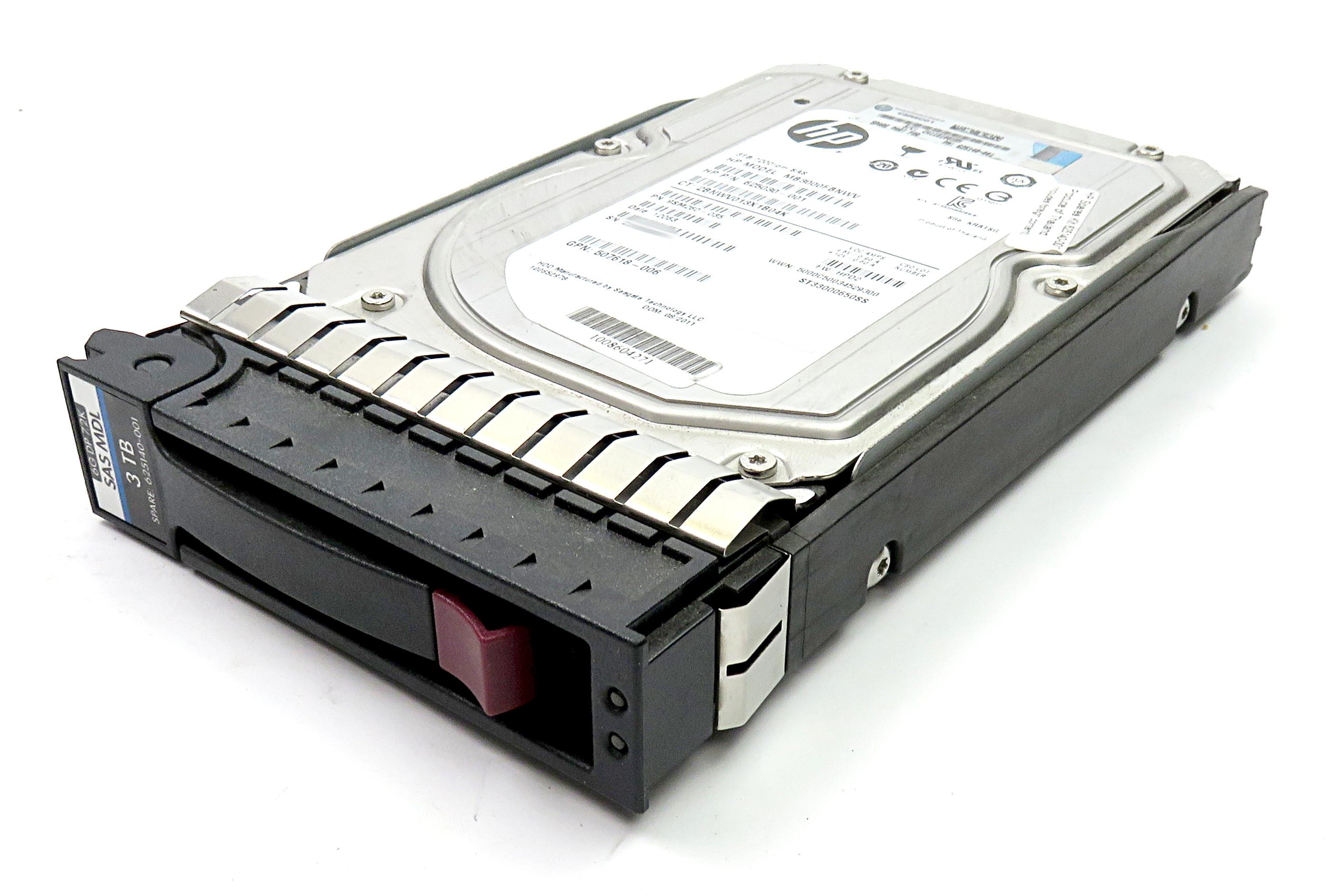 """HP 625030-001 3TB 3.5"""" 7200rpm SAS HDD MB3000FBNWV in Caddy 625140-001"""