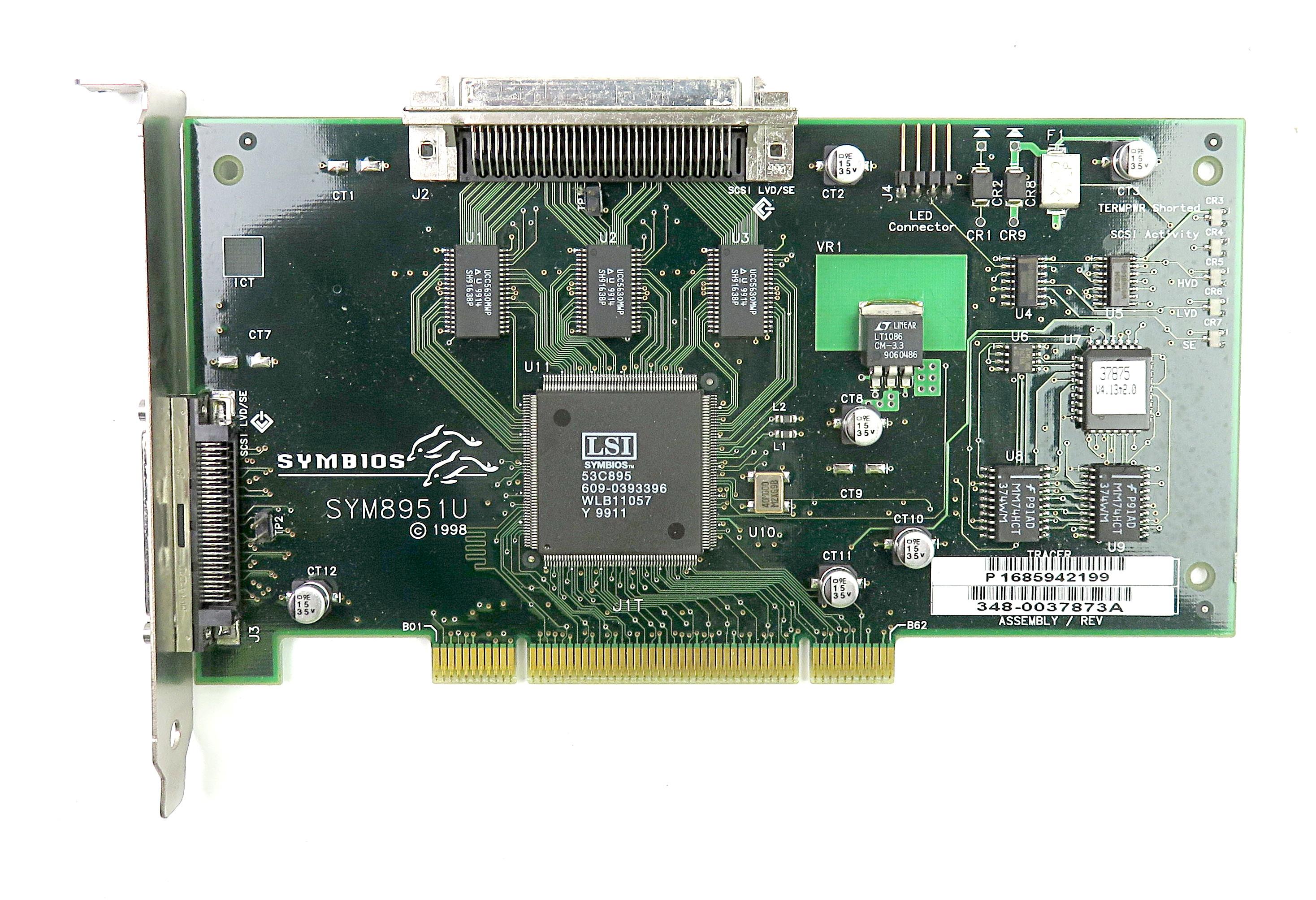 SYMBIOS SYM8951U PCI Ultra-2 LVD/SE SCSI Controller Card 348-0037873A