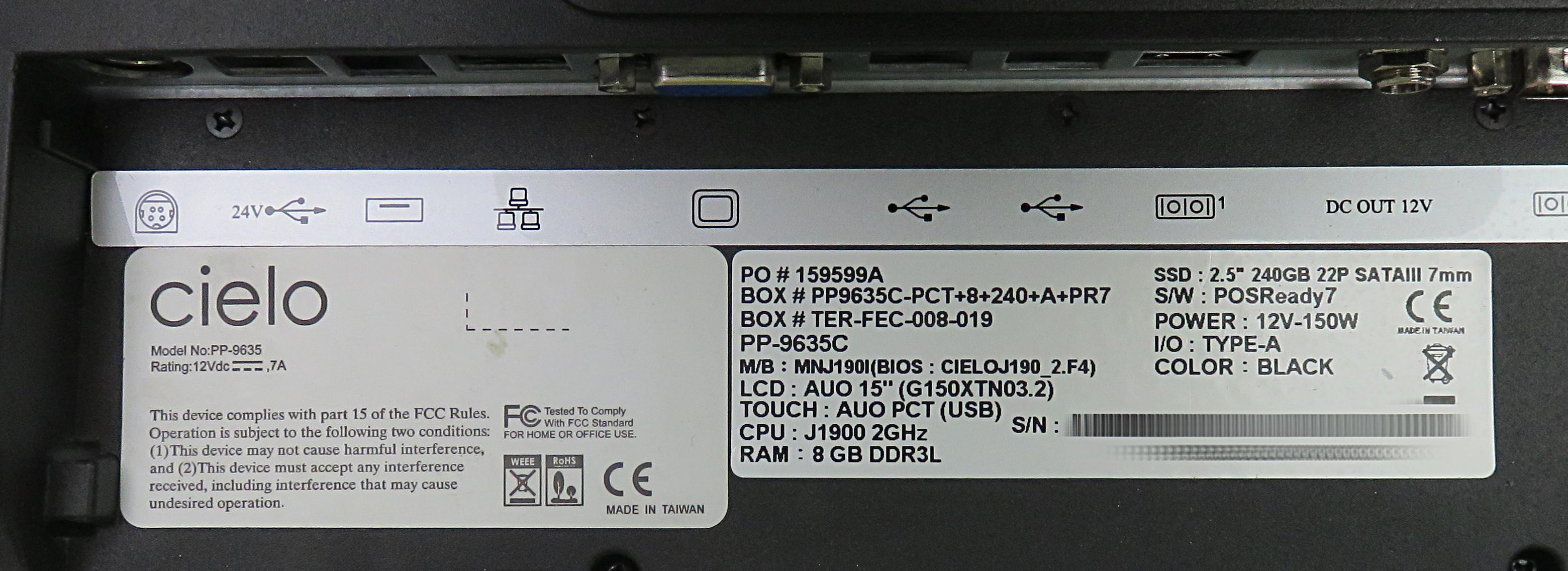 Cielo PP-9635C EPOS Terminal w/ Touchscreen & Customer Display Panel