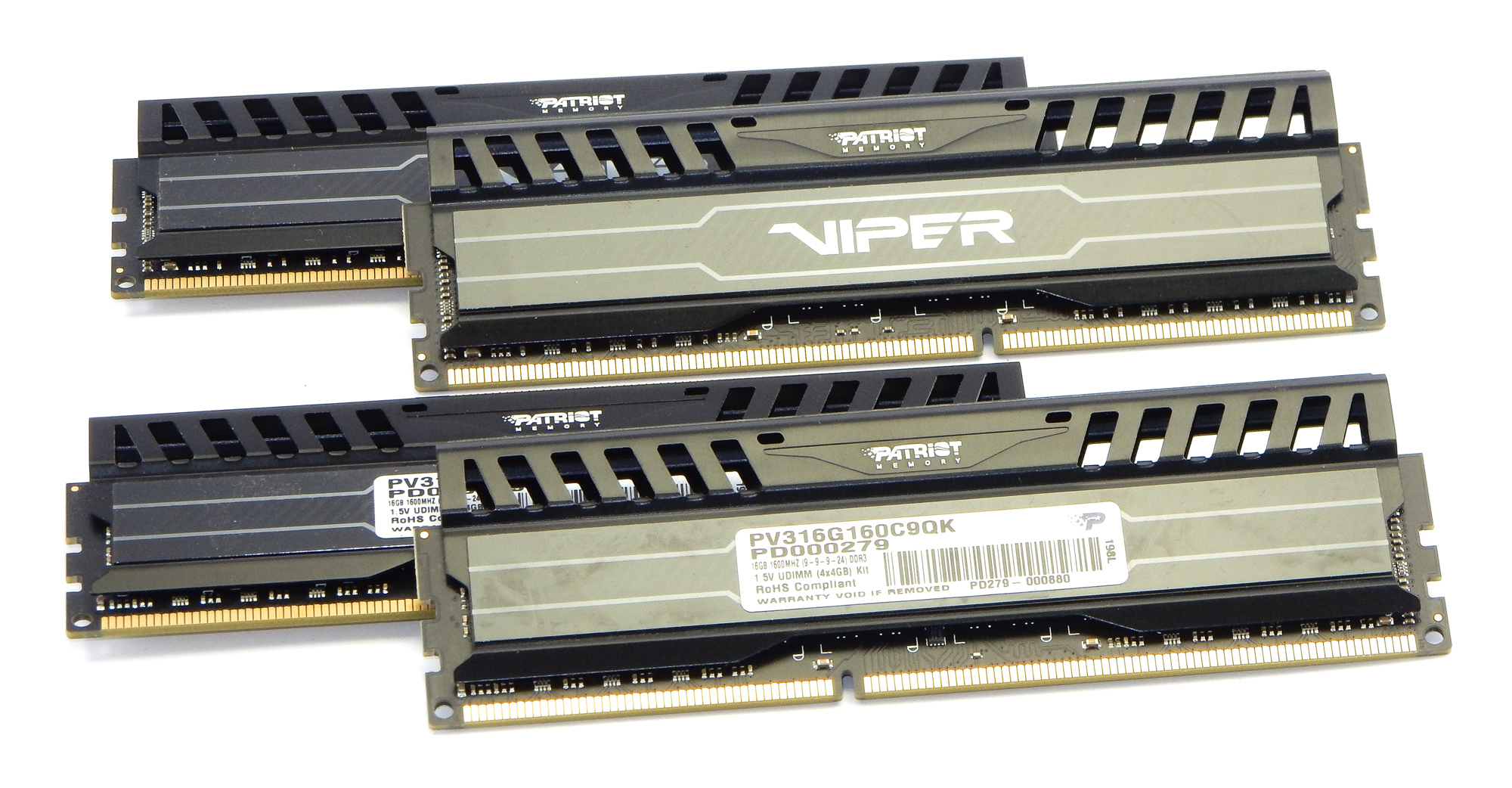 Set of Four (4) Patriot Viper 4GB PC3-12800 DDR3 DIMM PV316G160C9QK, Black
