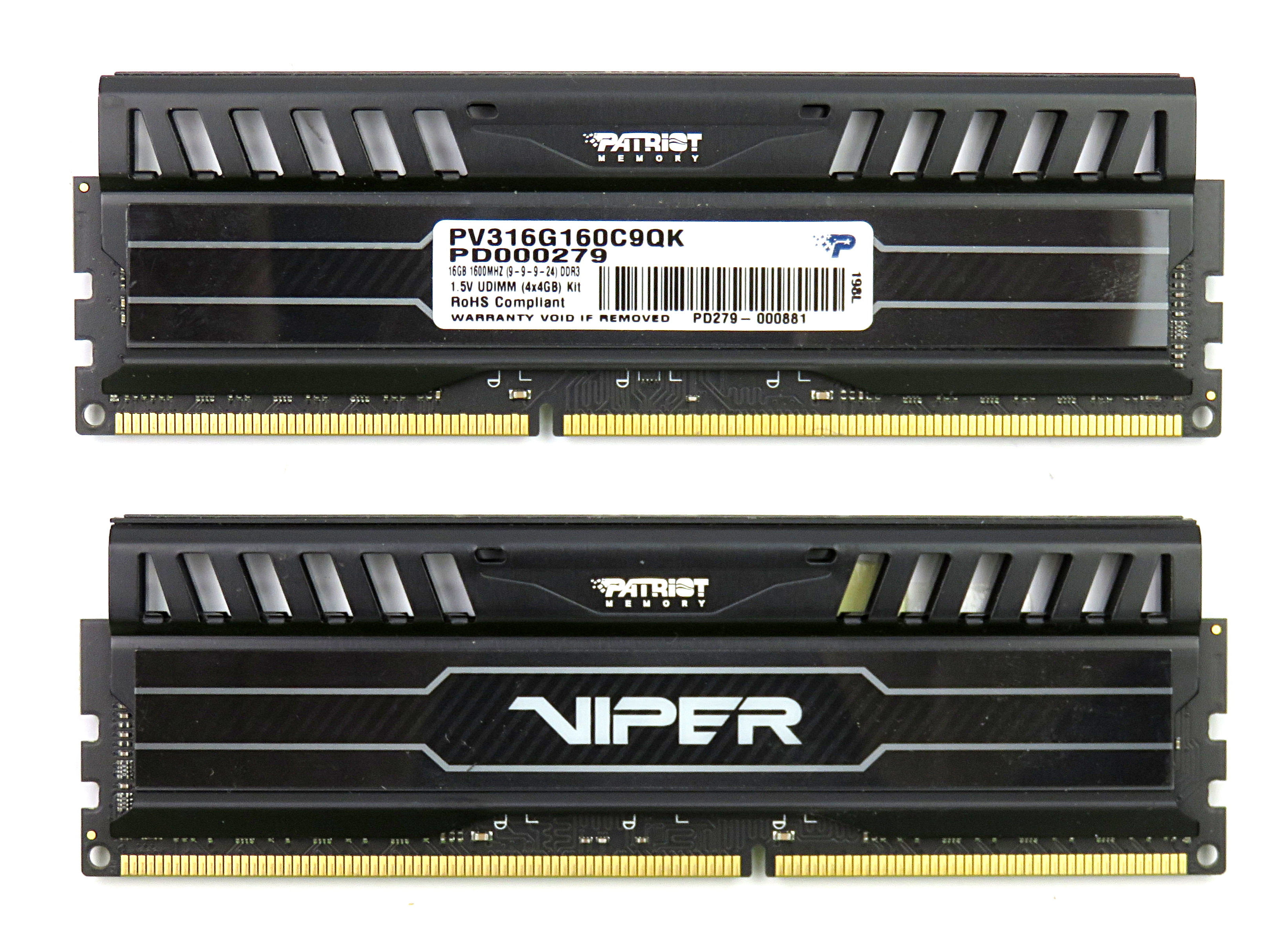 Set of Two (2) Patriot Viper 4GB PC3-12800 DDR3 DIMM PV316G160C9QK, Black
