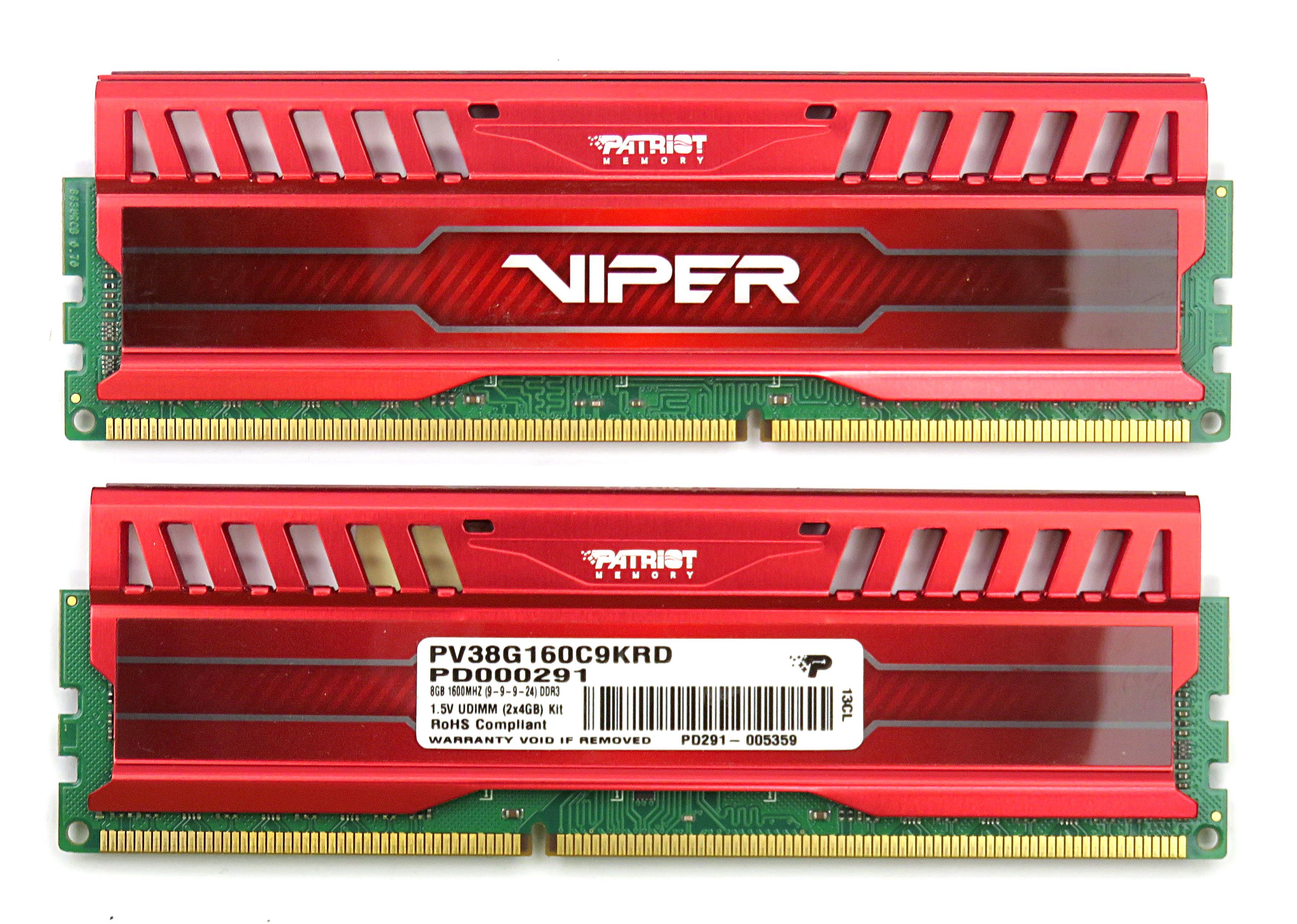 8GB Kit of 2x Patriot Viper 4GB PC3-12800 DDR3 DIMM PV38G160C9KRD, Red