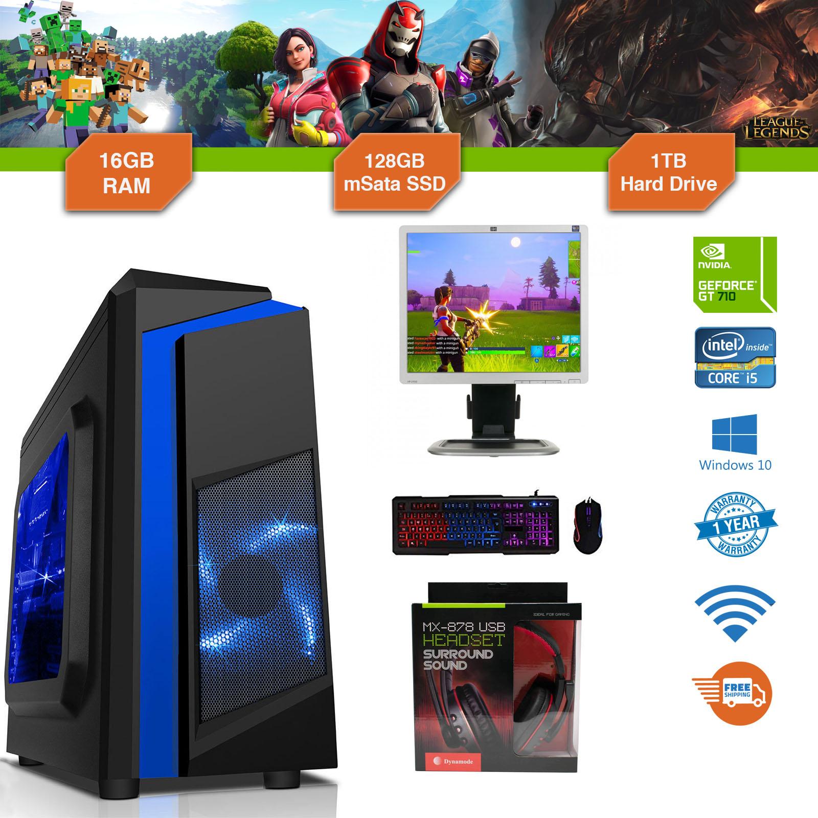 Gaming PC Bundle Intel Core i5 3.1GHz Win10 GT710 16GB RAM 128GB SSD 1TB Cheap
