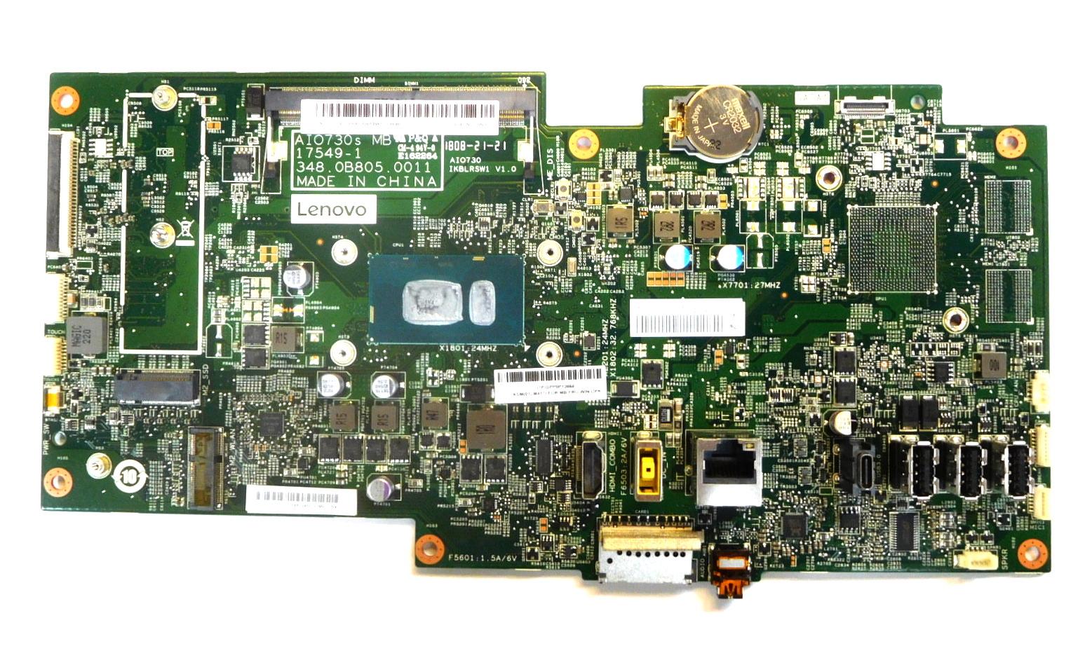01LM417 Lenovo ideacentre 730S-24IKB AiO PC Motherboard w/ BGA Core i5-8250U CPU