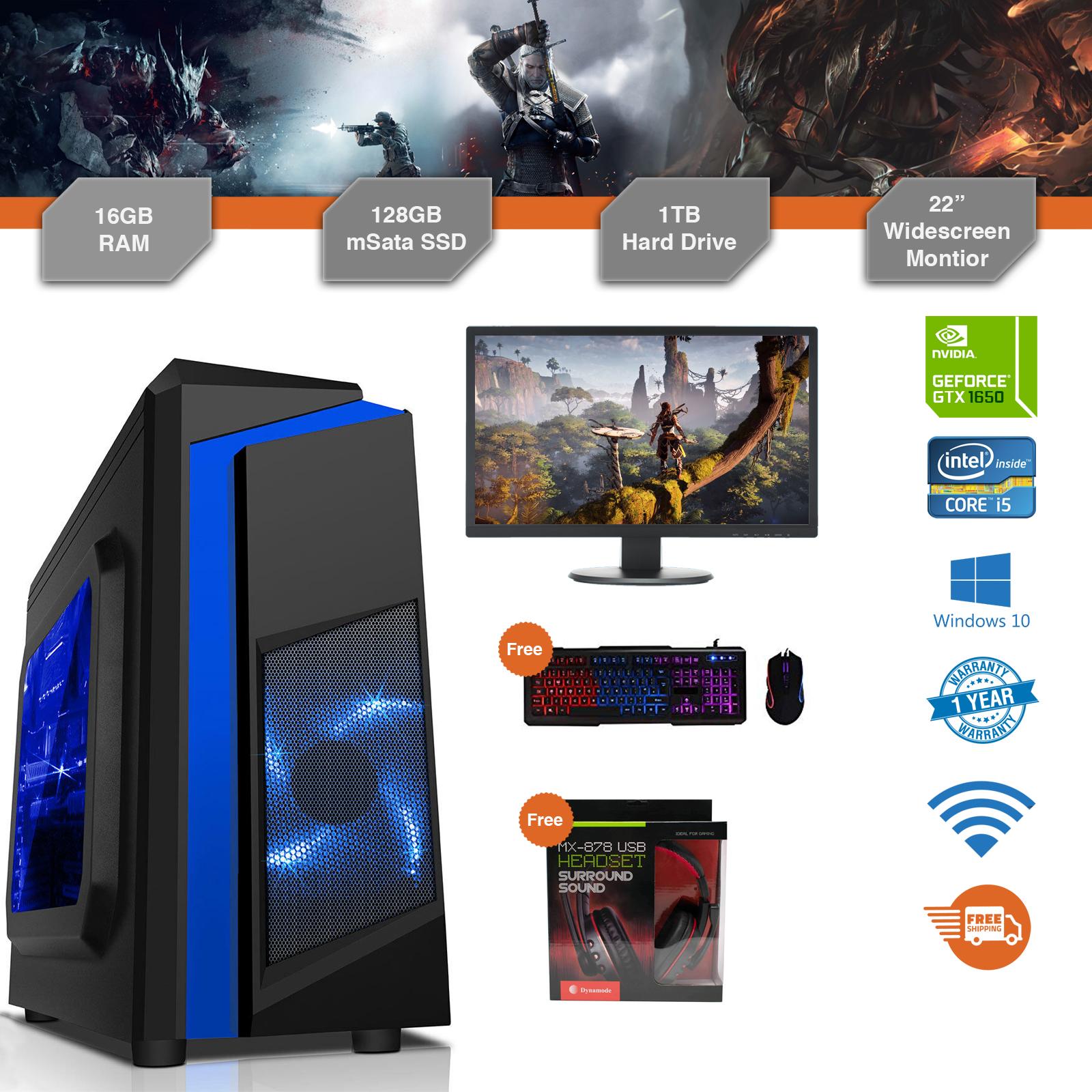 Gaming PC Bundle Intel Core i5 3.1GHz Win10 GTX1650 16GB RAM 128GB SSD 1TB Cheap