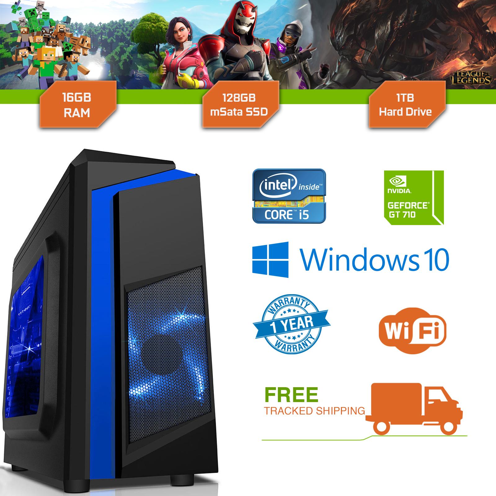 Cheap Gaming PC Intel Core i5 3.1GHz Windows 10 GT710 2GB 16GB RAM 128GB SSD 1TB