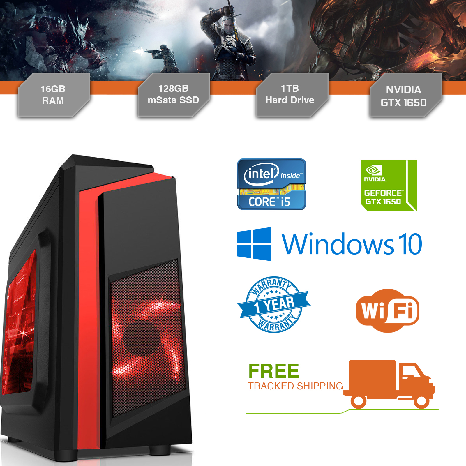 Cheap Gaming PC Intel Core i5 3.1GHz Windows 10 GTX1650 16GB RAM 128GB SSD 1TB