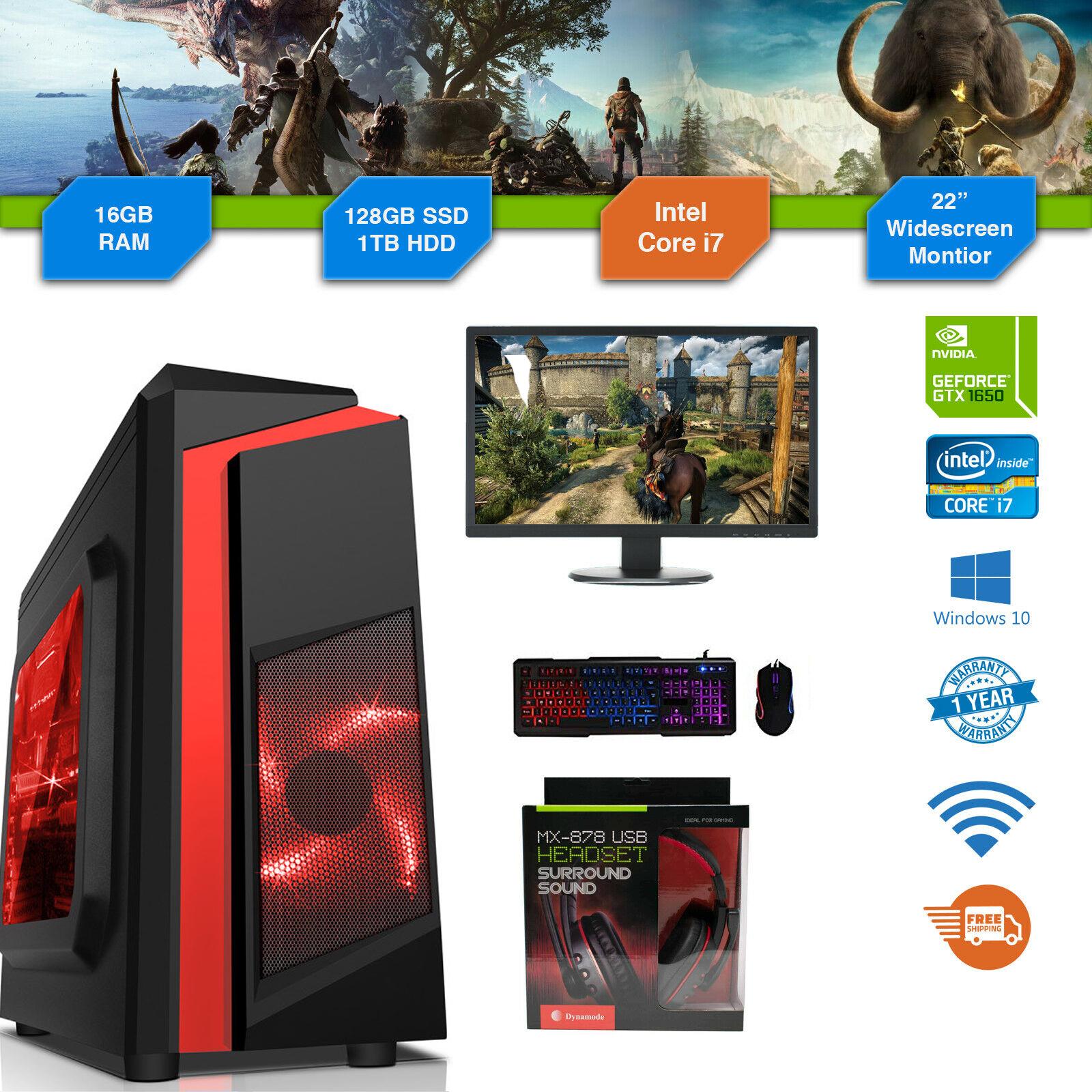 Cheap Custom Gaming PC Intel Core i7-9700 Win10 GTX1650 16GB DDR4 128GB SSD 1TB