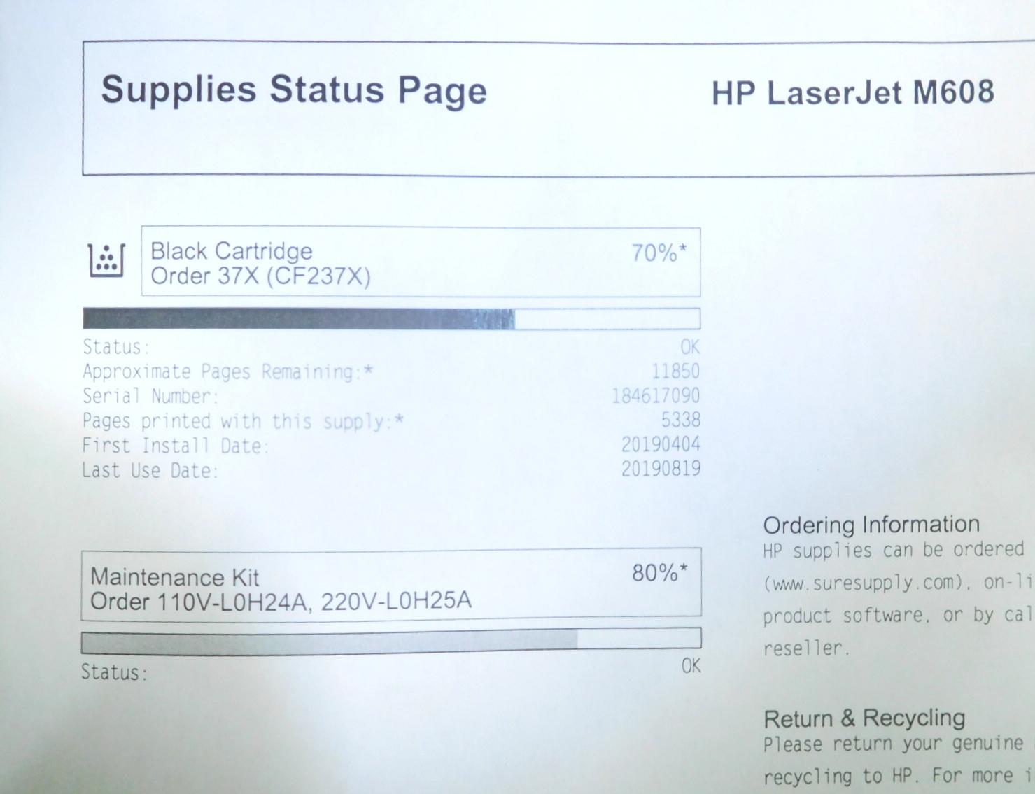 HP K0Q17A Laserjet Enterprise M608 Mono Laser Printer CNBVKC80RG