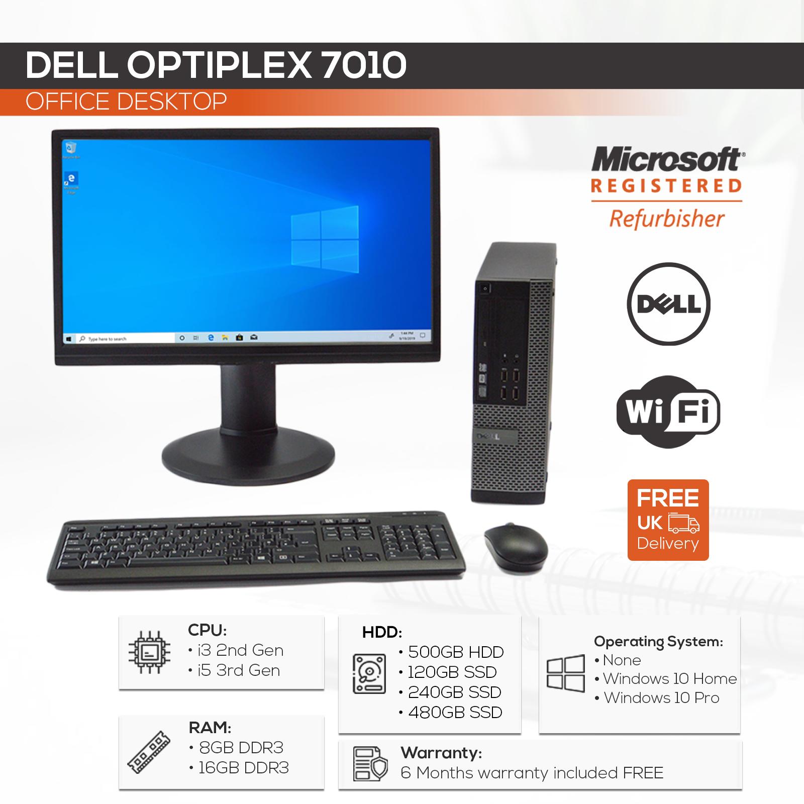 "Custom Compact Dell PC Intel i5-3470 / 16GB / 480GB SSD / Win10 Pro / 22"" TFT"