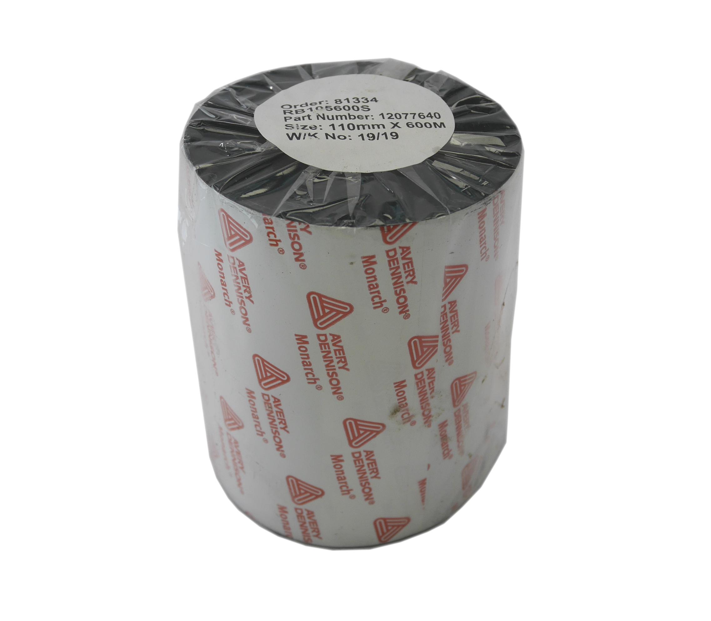 """Monarch 12077640 Thermal Transfer Wax Ribbon (110mm X 600M / 4.33"""" X 1968')"""