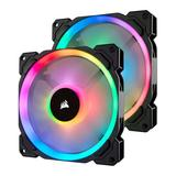 Corsair LL140 14cm PWM RGB Case Fans x2, 16 LED RGB Dual Light Loop, Hydraulic B