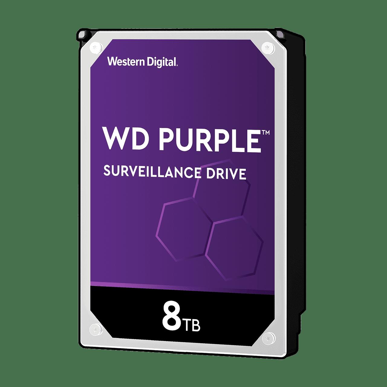 "WD 3.5"", 8TB, SATA3, Purple Surveillance Hard Drive, 5400RPM, 128MB Cache"