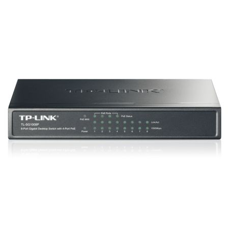 TP-LINK (TL-SG1008P) 8-Port Gigabit Unmanaged Desktop Switch, 4-Port PoE, Steel