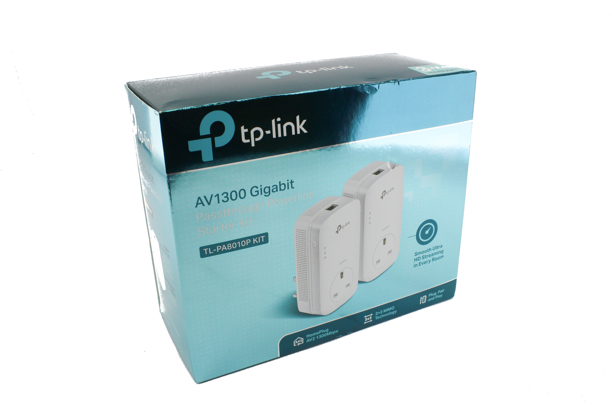 TP-LINK (TL-PA8033P KIT) AV1300 GB Powerline Adapter Kit, 3-Port, AC Pass Through