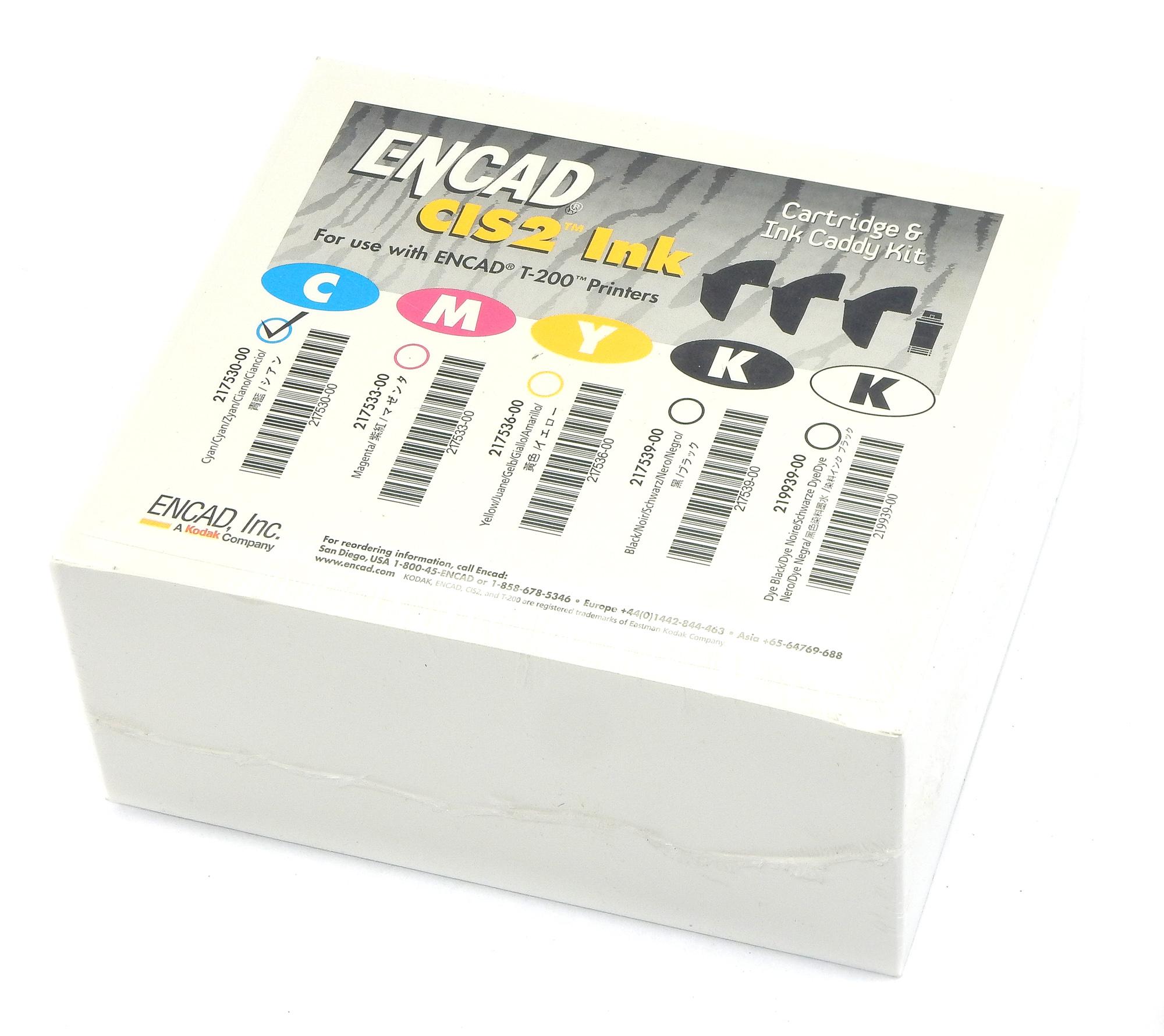 Genuine & New ENCAD 217530-00 CIS2 Cartridge & Ink Caddy Kit - Cyan