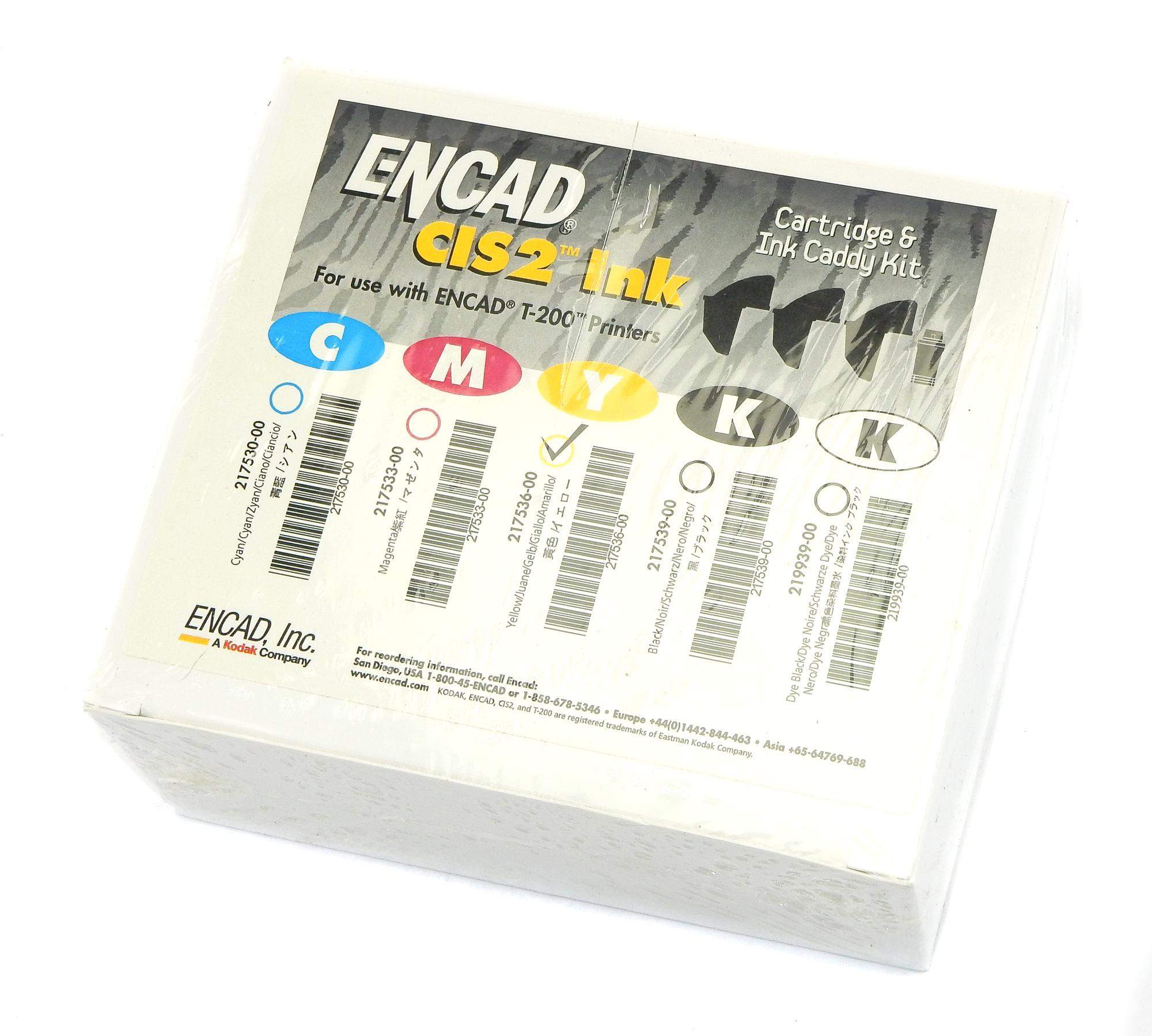 Genuine & New ENCAD 217536-00 CIS2 Cartridge & Ink Caddy Kit - Yellow