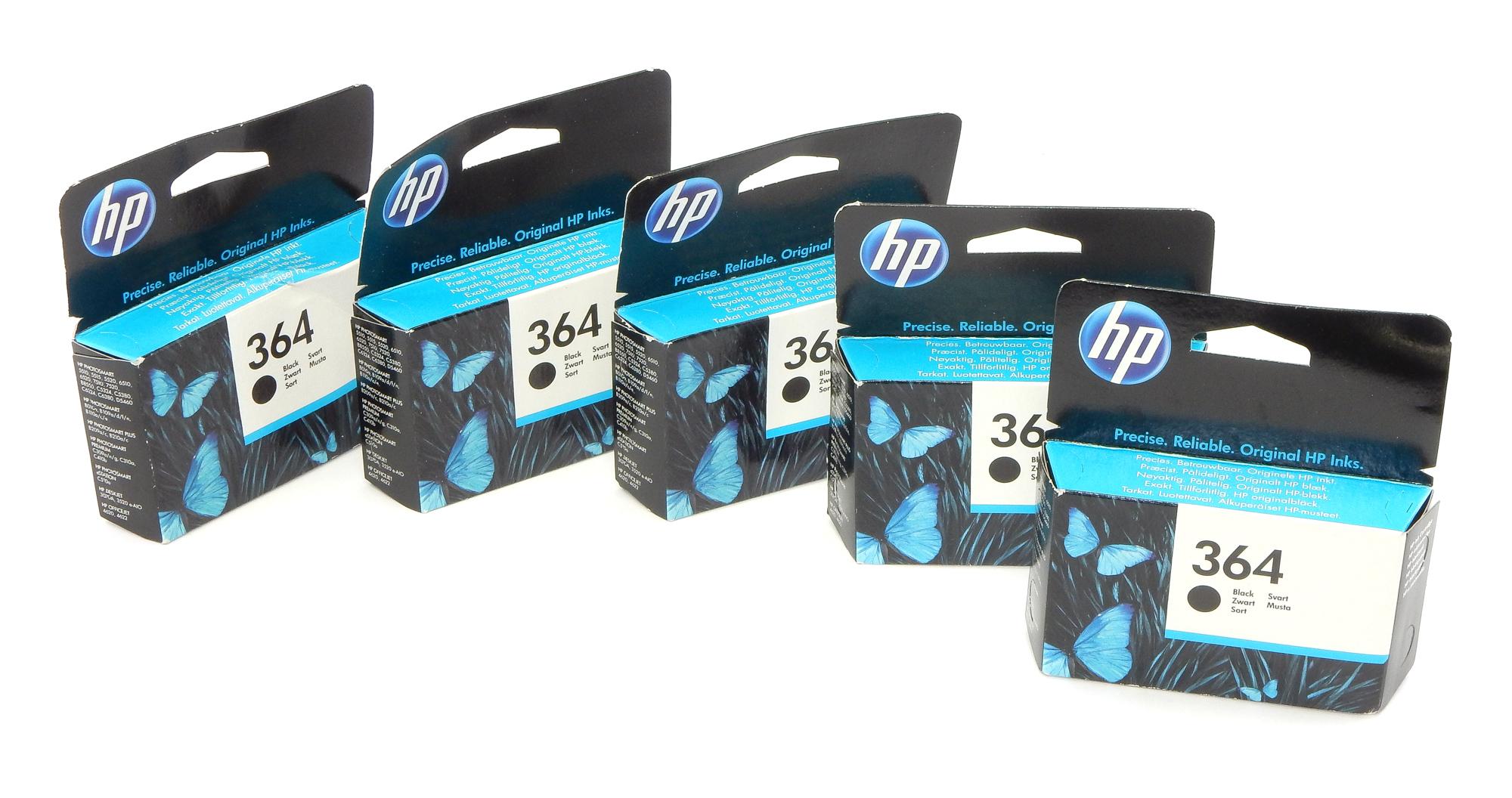 5x Genuine HP CB316EE 364 Black Ink Cartridge - Expired