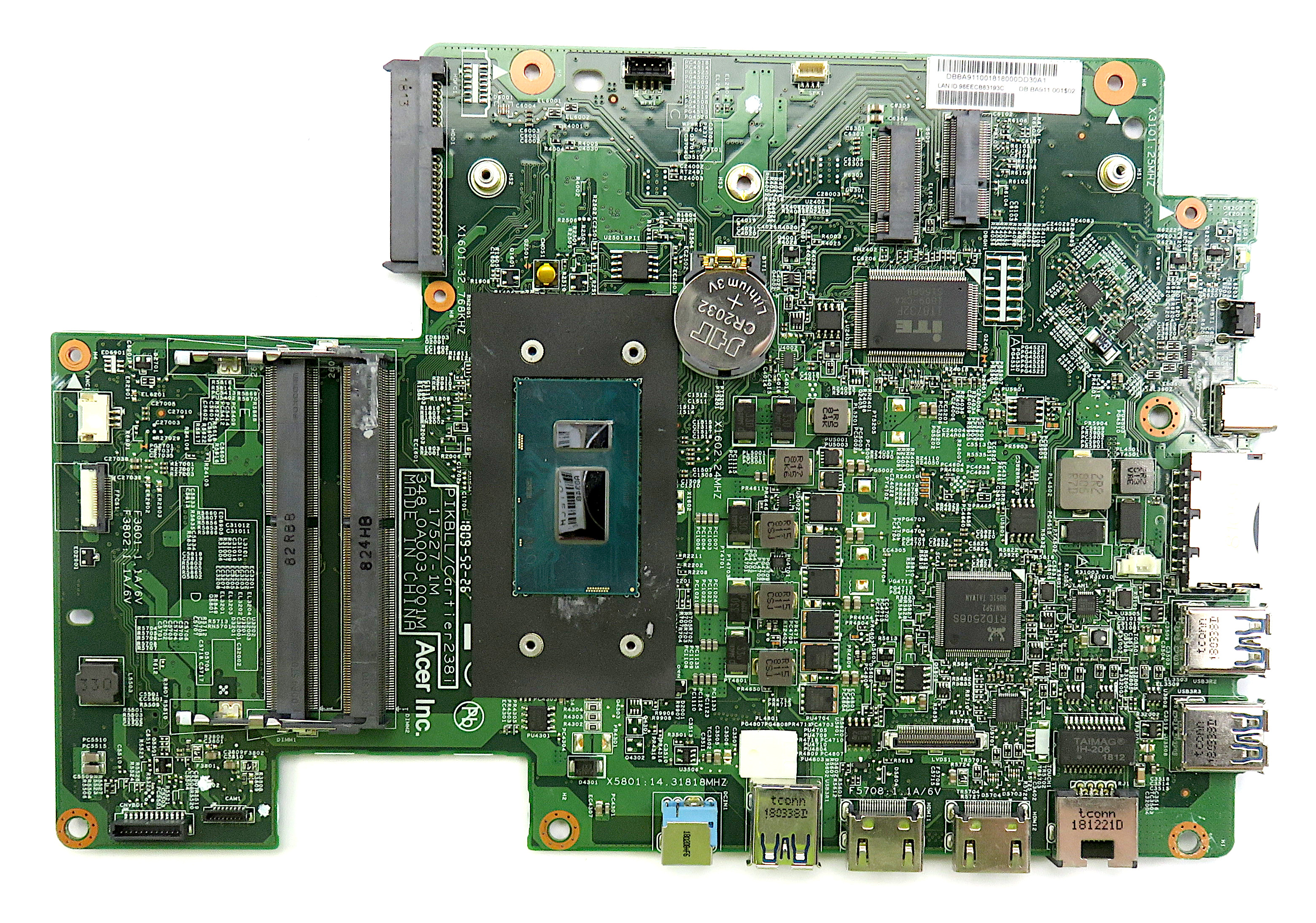 Acer DB.BA911.001 AiO PC Motherboard /w BGA Core i5-8250U CPU