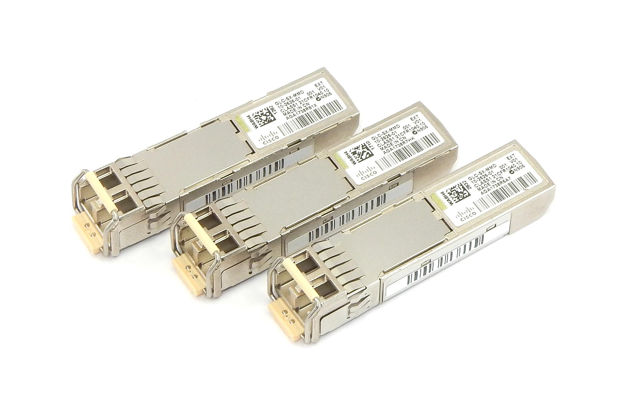 3x Cisco 10-2626-01 SFP GLC-SX-MMD SFP 1000BASE-SX Transceiver Modules