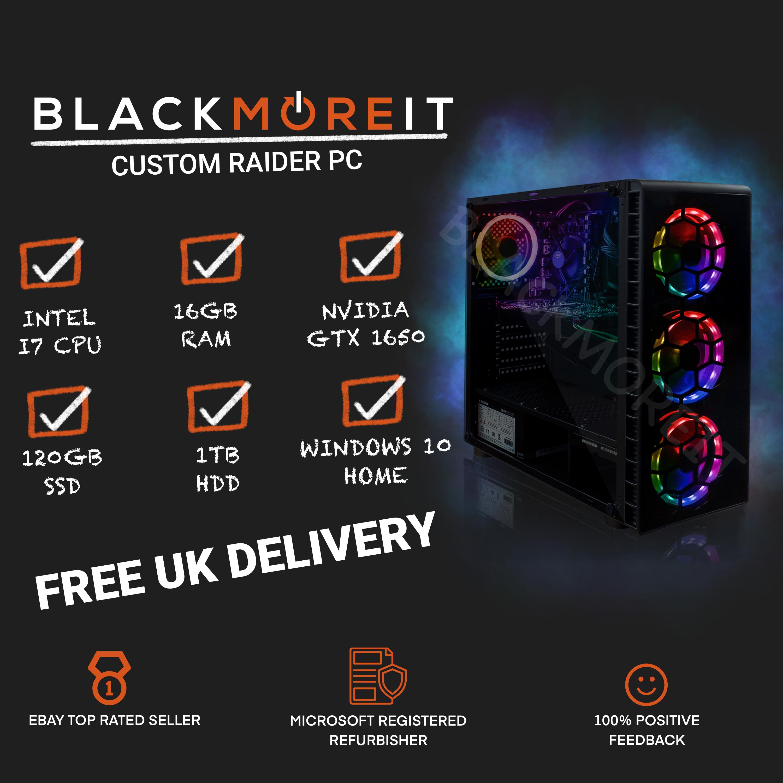 Cheap Custom RGB Gaming PC Intel i7 Win10 GTX1650 16GB RAM 128GB SSD 1TB HDD