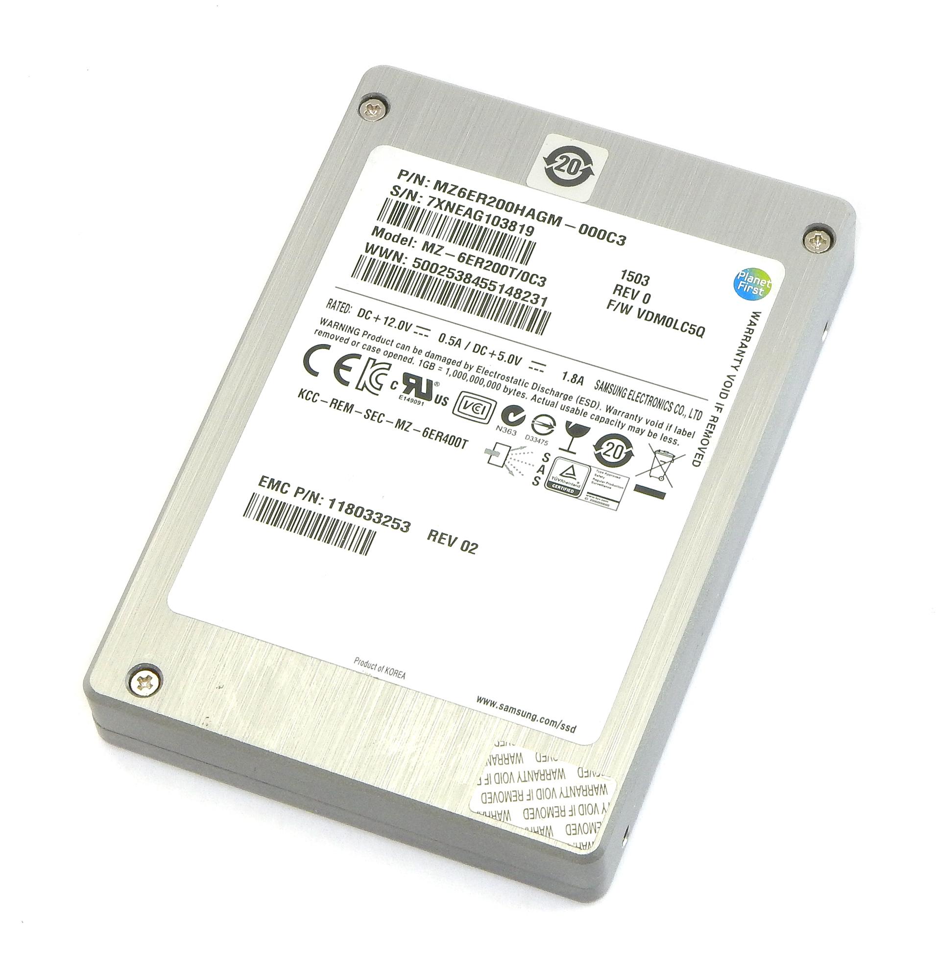 "Samsung MZ-6ER200T/0C3 200GB 2.5"" 6Gbps SAS Enterprise SSD MZ6ER200HAGM-000C3"