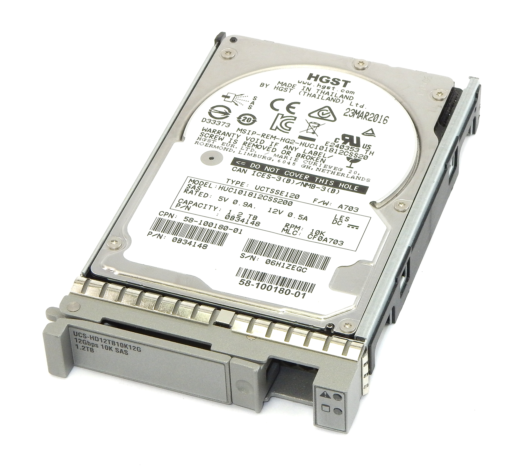 "Cisco UCS-HD12TB10K12G 1.2TB SAS 10K RPM 2.5"" HDD / HGST HUC101812CSS200"